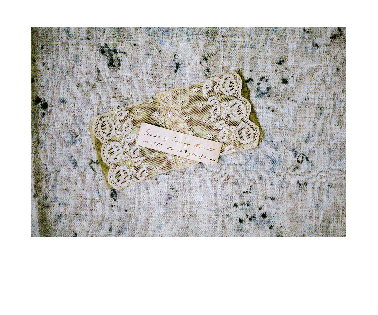 - Handmade Needle Lace, c. 1787, American. This treasured lace made by Nancy Lovett at 10 years old (documented in photo) inspired the research and preservation of many of the MIMI PROBER collection of antique textiles, and the original 'These Hands' collection.