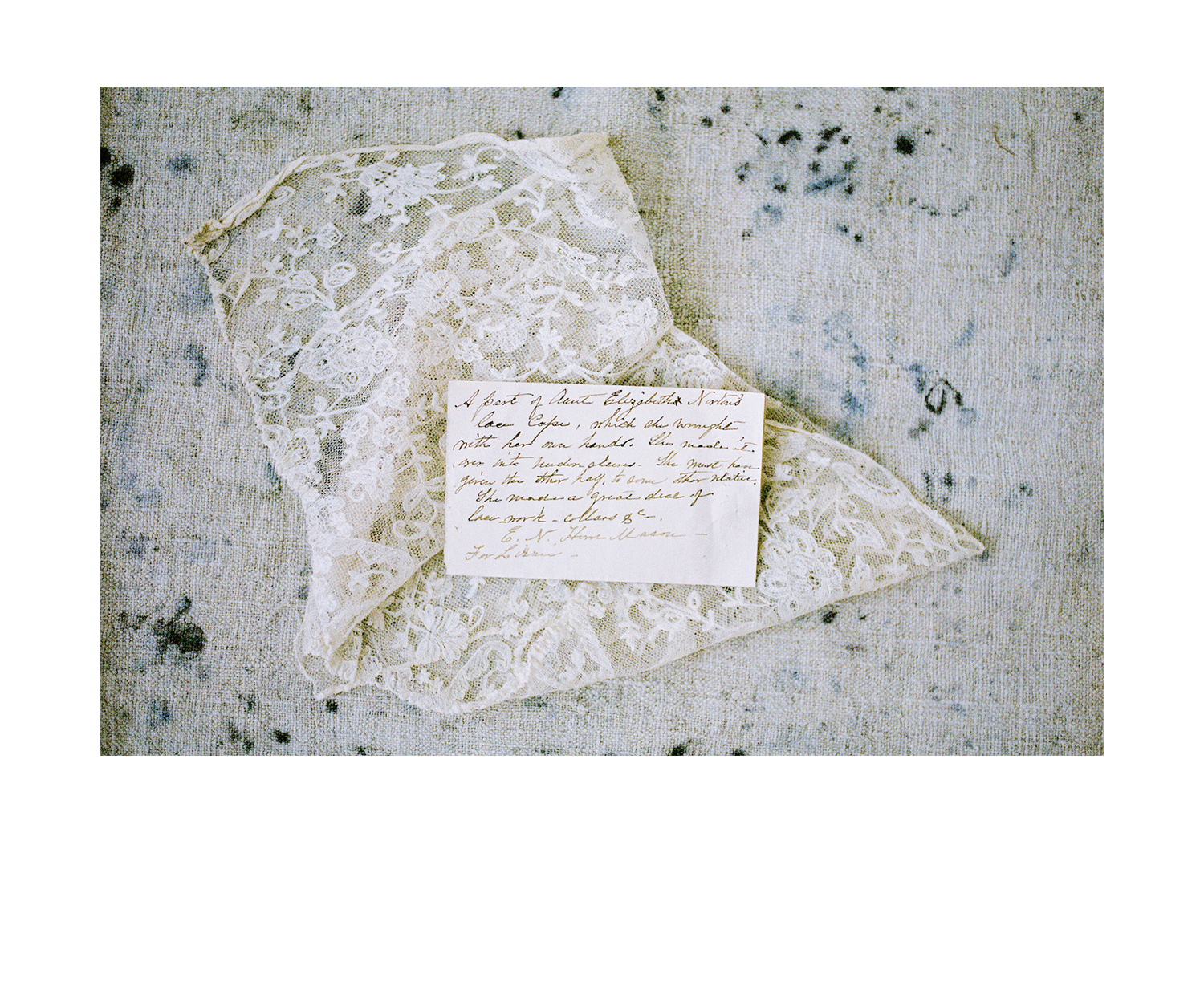 - Handmade Needle Lace, c. 1800's. Originally as part of a cape, this fragment documents the provenance and story of the original maker.
