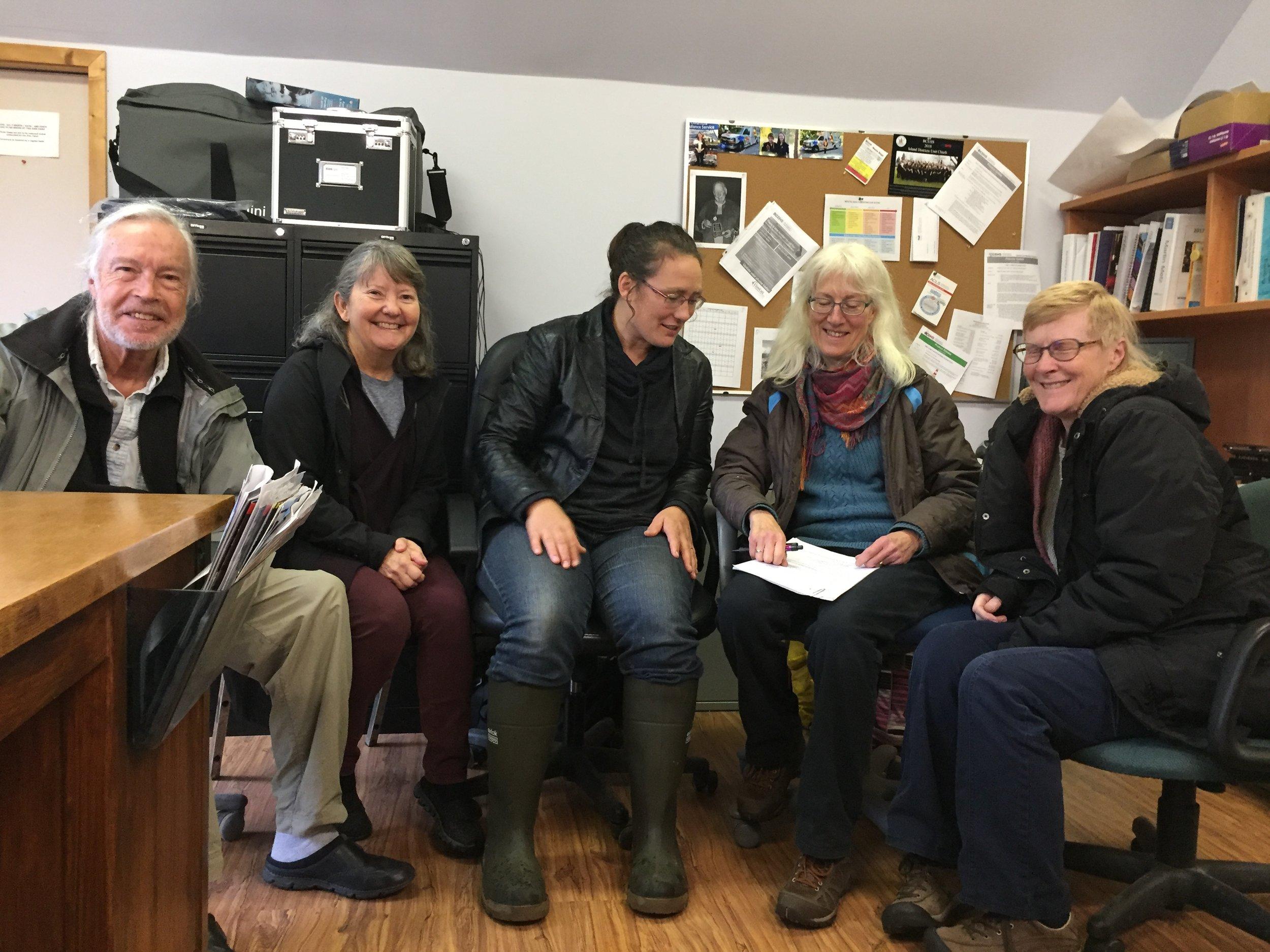 Photo left to right – John Blaxall, Mary-Jo Woolgar, me, Carina Verhoeve & Bernice McGowan.