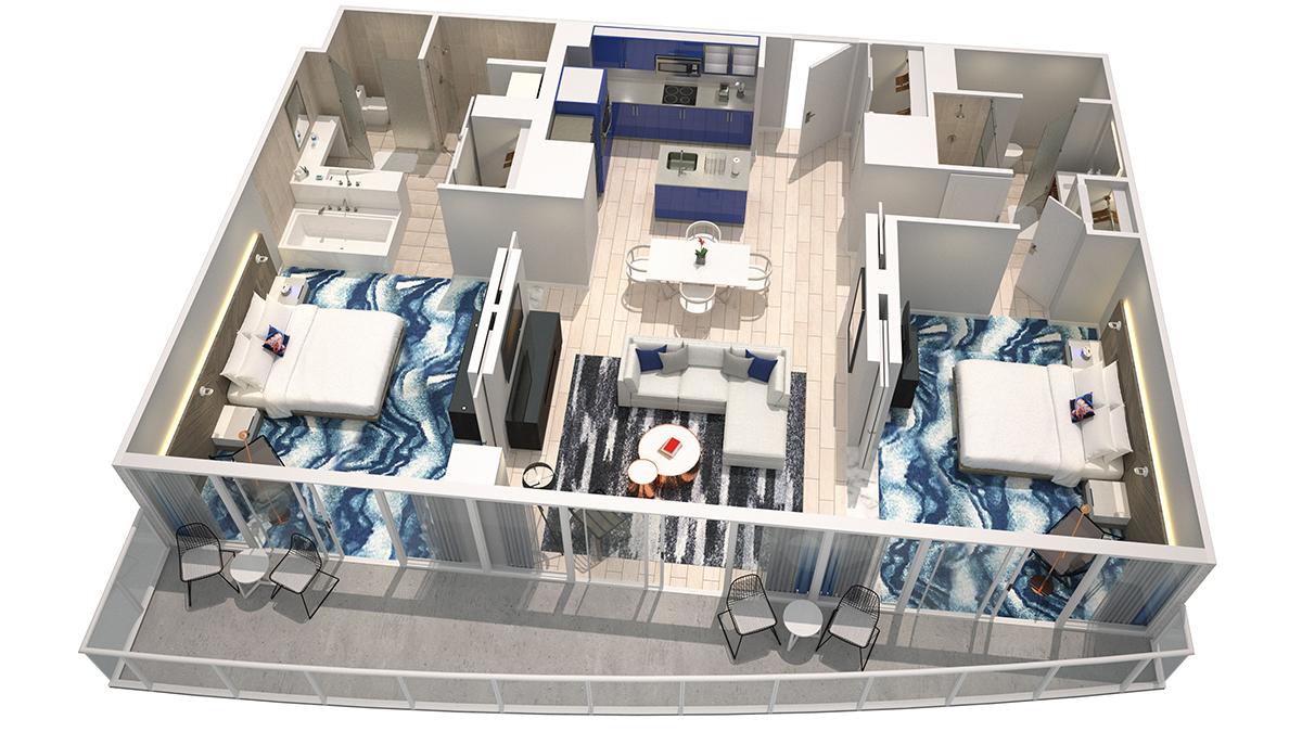 3DOcean Retreat Model    Click for 3D virtual Tour of unit