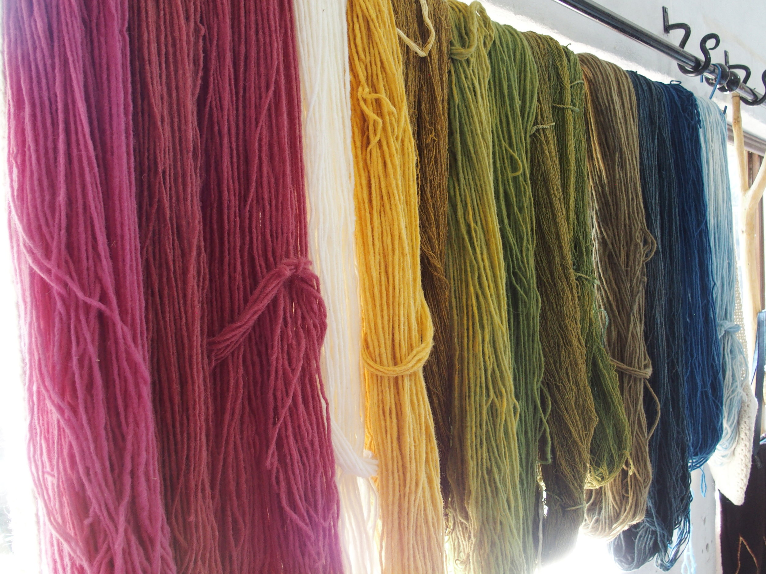 Hand dyed wool yarn in natural dyes