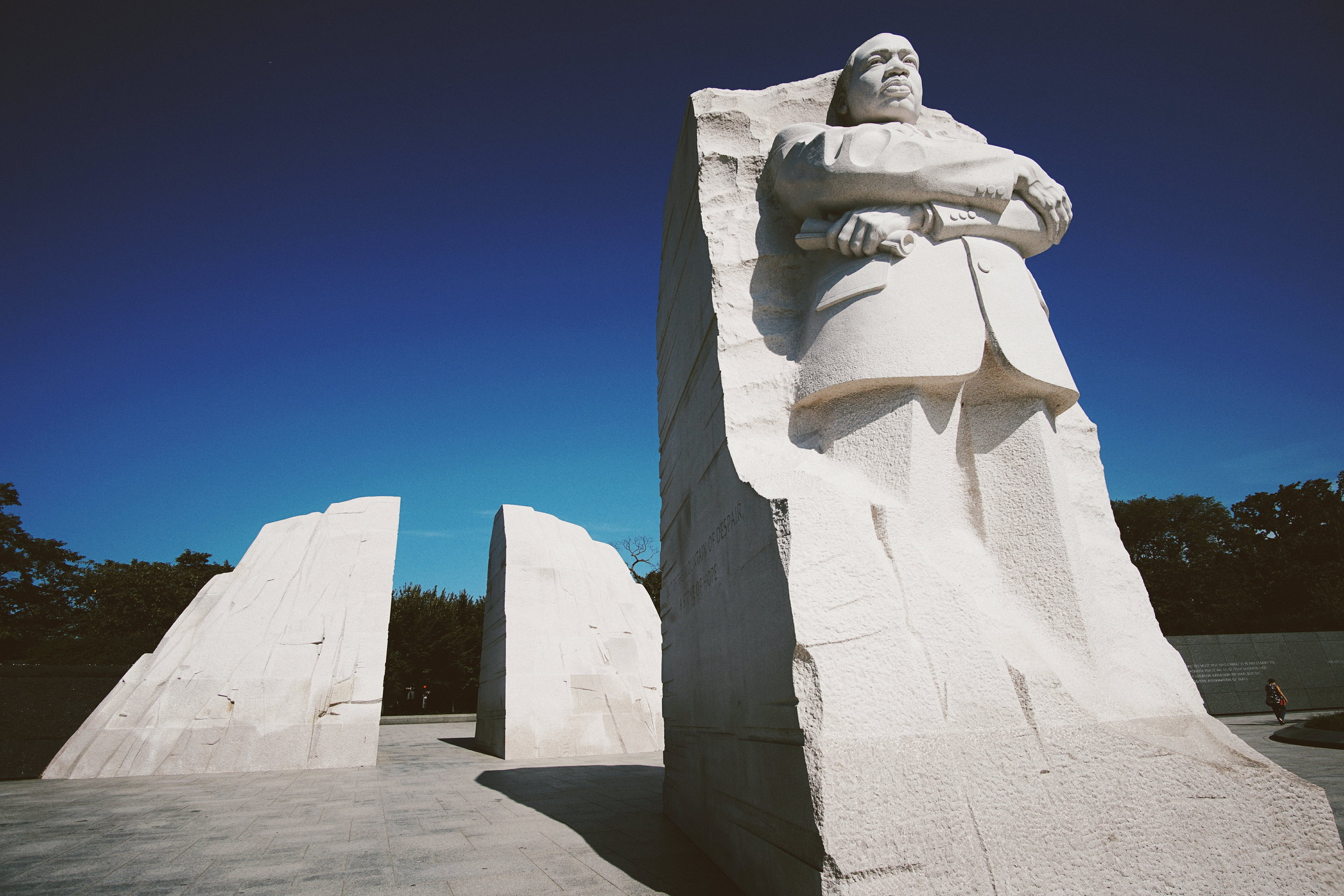 """The inspiration for the memorial design is a line from King's """" I Have A Dream """" speech: """"Out of the mountain of despair, a stone of hope."""""""