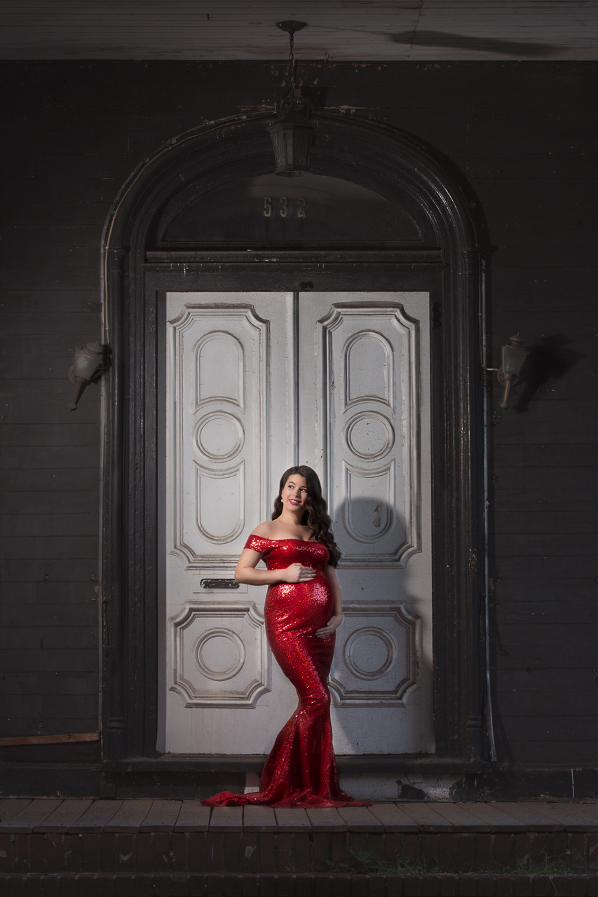 nyc maternity photoshoot prospect heights old door red dress-0080.jpg