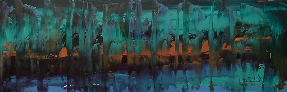 #62, 2018. Acrylic on canvas, 12 x 36 inches.