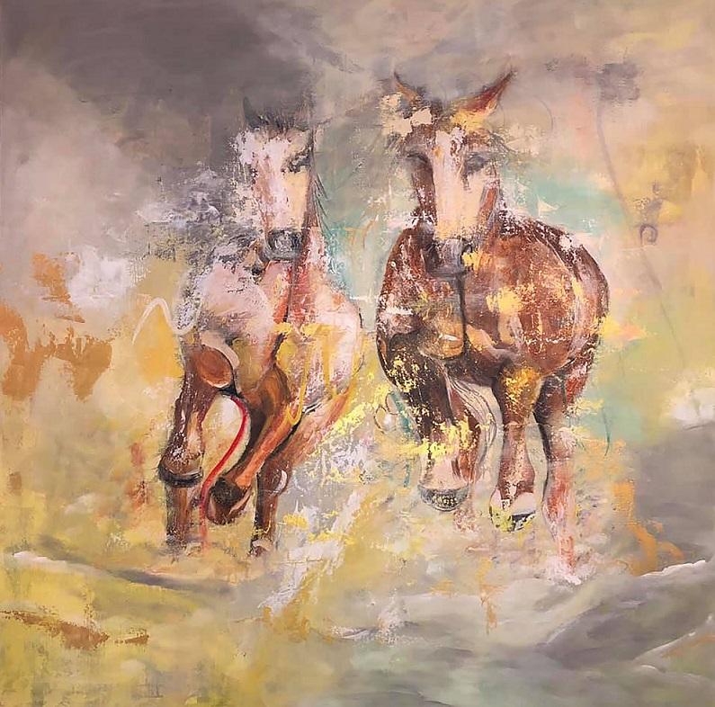 "Illusion, 2018. Acrylic on Canvas, 36"" x 48"""