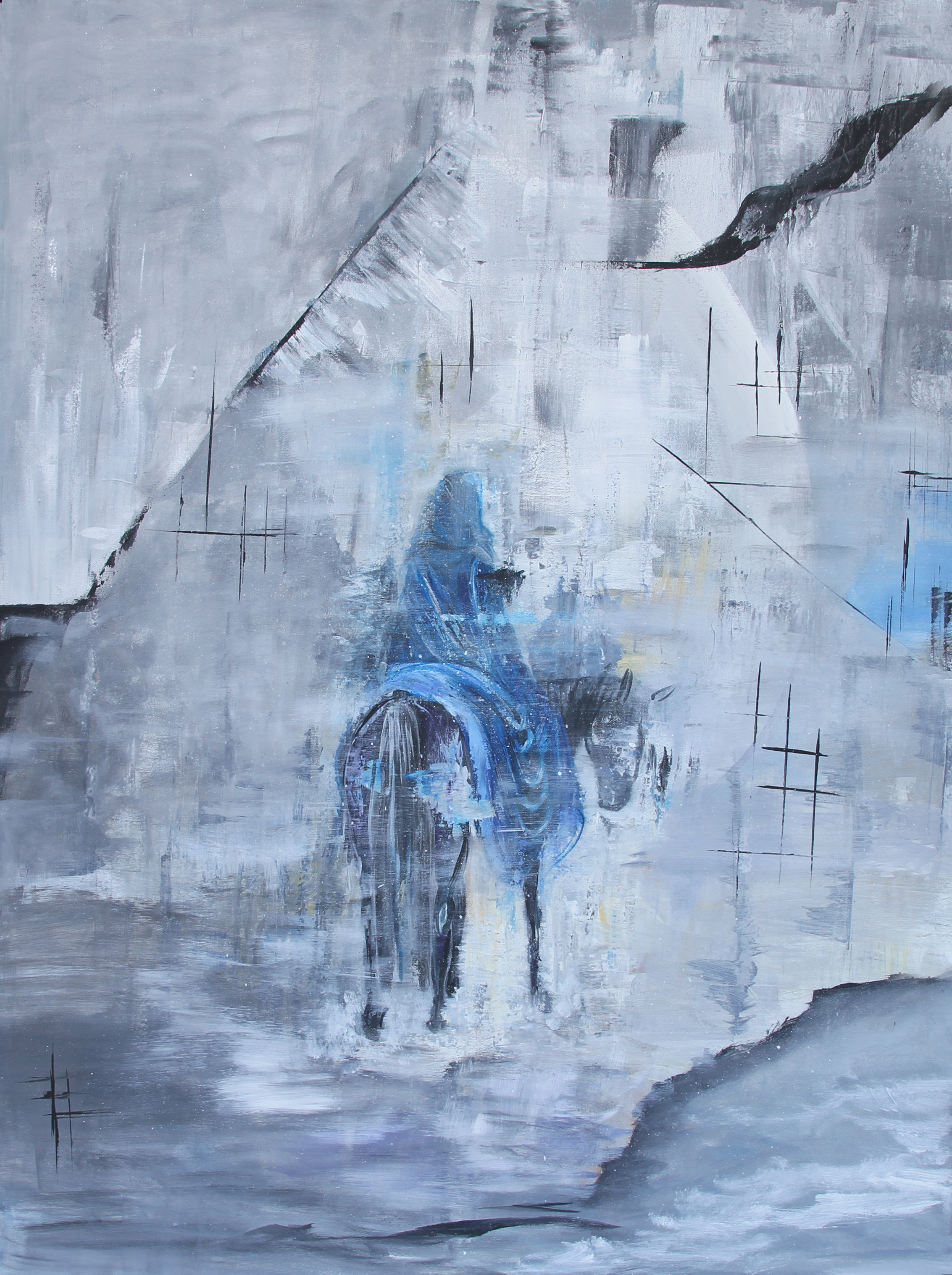 "Lost, 2018. Acrylic on Canvas, 36"" x 48"""