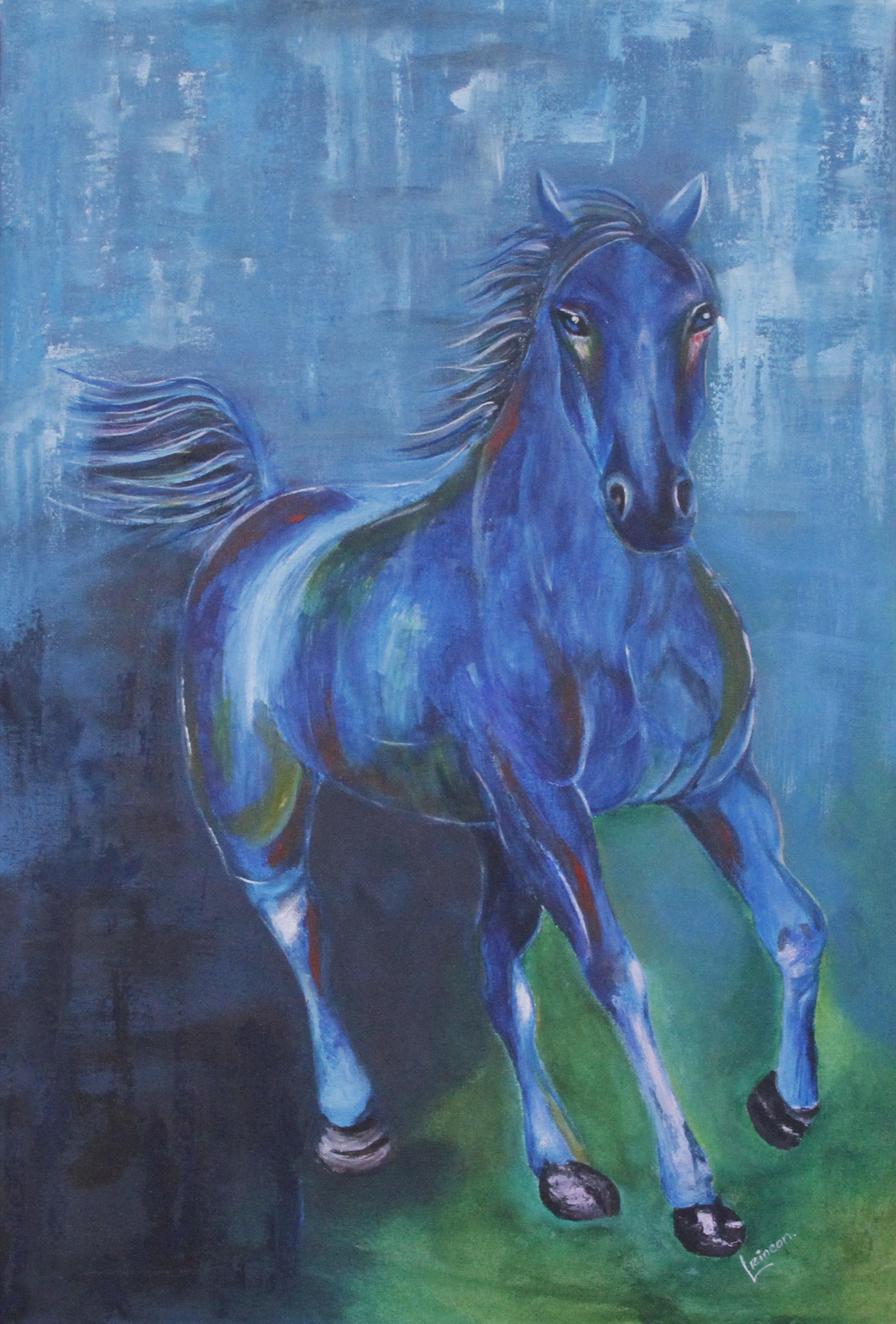"""Blue Soul, 2017. Acrylic on Canvas, 24"""" x 36"""""""