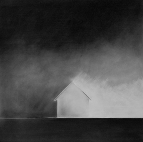 Home #3, 2018. Charcoal on frosted mylar, 36 x 36 inches
