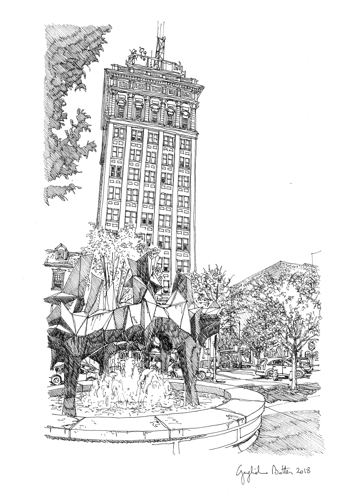 Lancaster, PA Penn Square Fountain, 2018, Pen & Ink, 17 x 14 inches