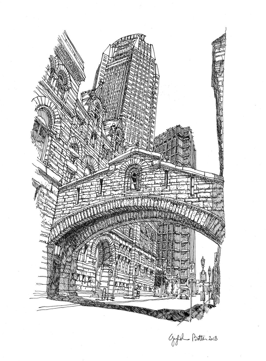 Pittsburgh, PA Allegheny County Courthouse and Old Jail, 2018, Pen & Ink, 17 x 14 inches