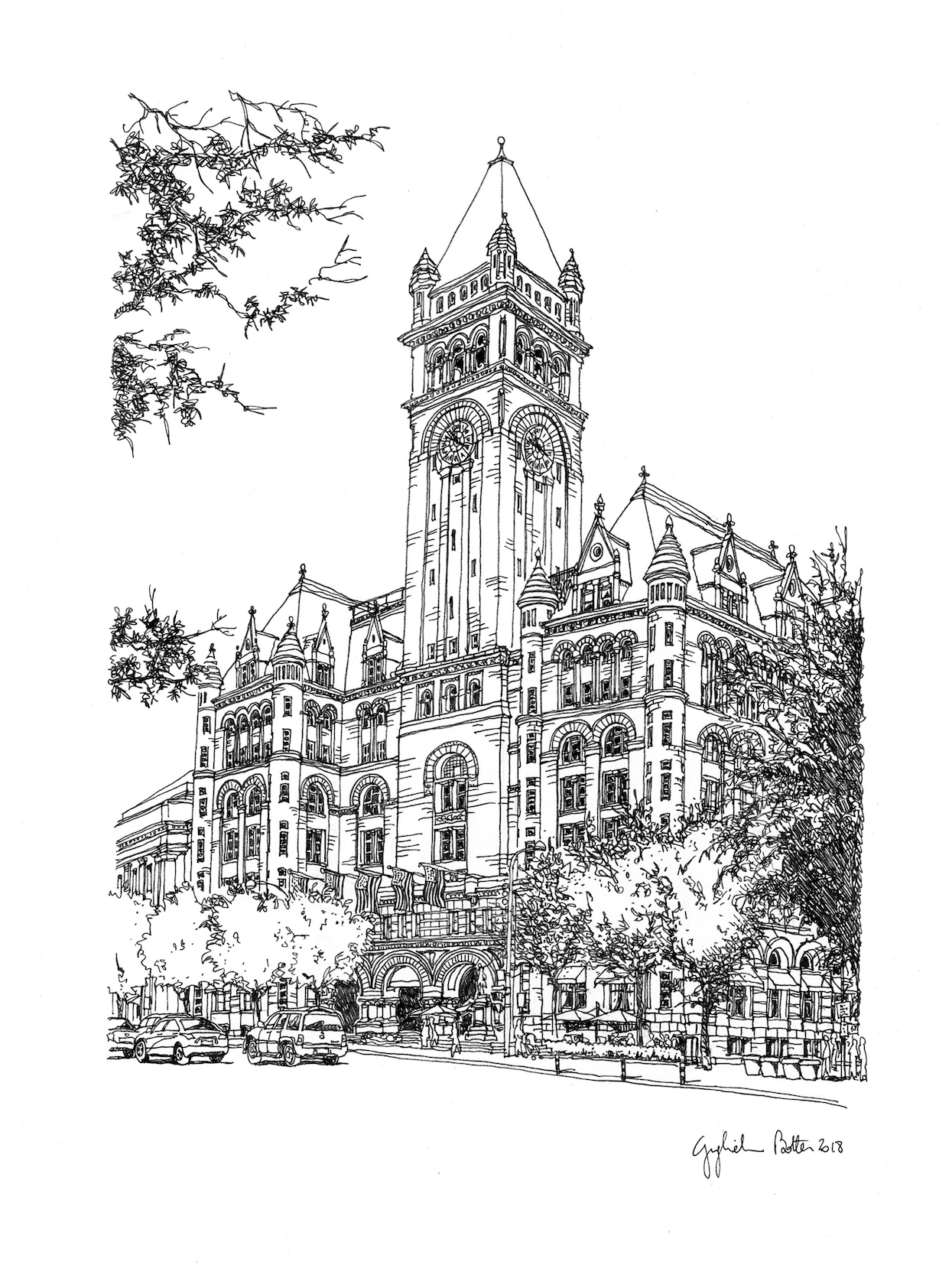 Washington DC Old Post Office, 2018, Pen & Ink, 17 x 14 inches