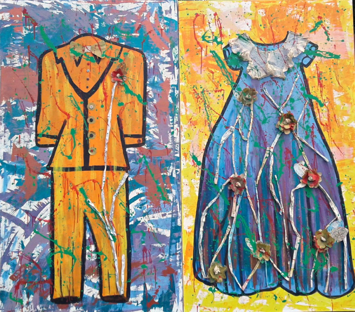 The Wedding The Dress The Suit, 2017. Mixed Media, 80 x 60 inches diptych, $4000