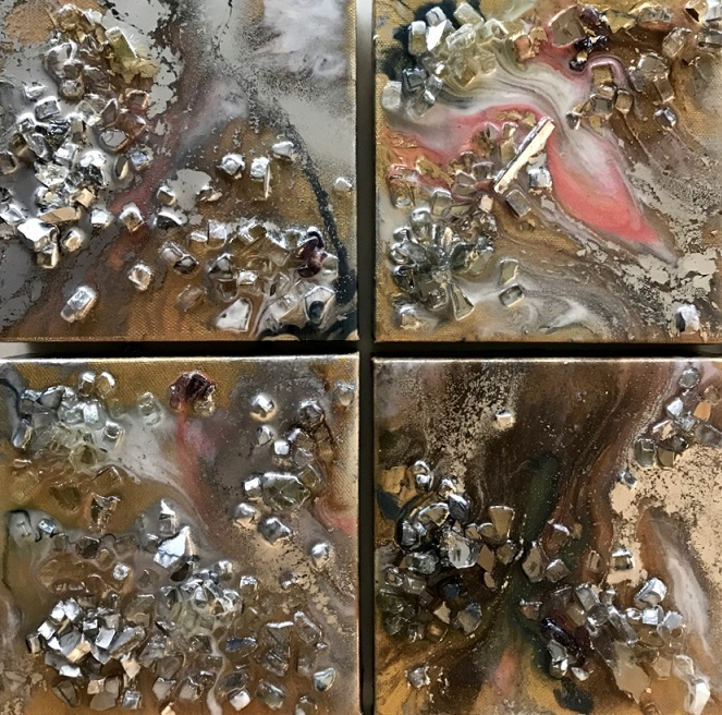Frozen River, Mini series, 2018. Acrylic, pigment, resin crushed glass, mirror and agate on canvas, 6 x 6 inches, set of four (SOLD)