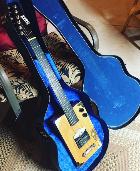 Blue, 2014. Cigar box, guitar parts and found objects, with custom upholstered case. NFS (Commissioned piece)