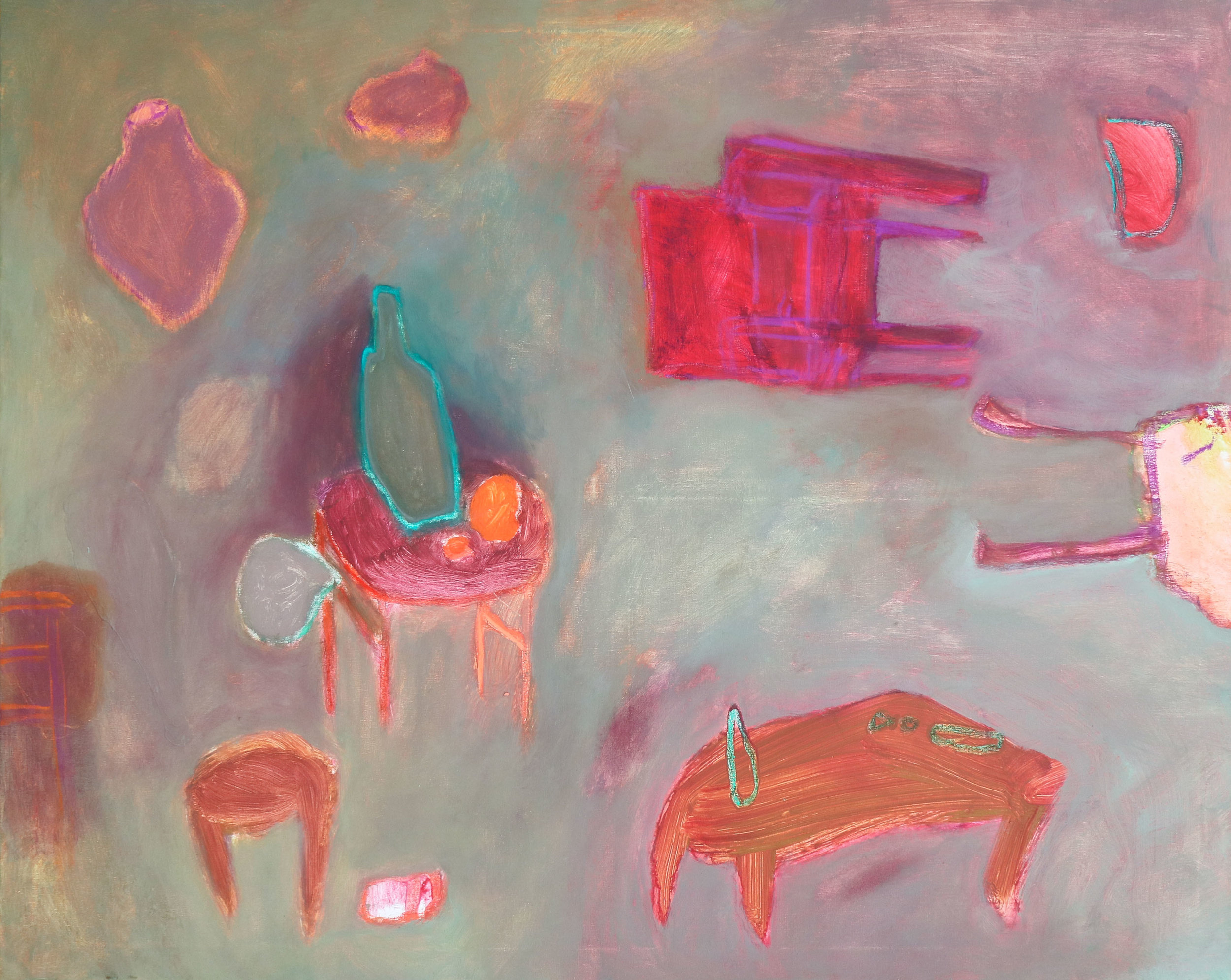 Red Chair in Mint Room I, 2018, mixed media on canvas, 80 x 100 cm, €1700