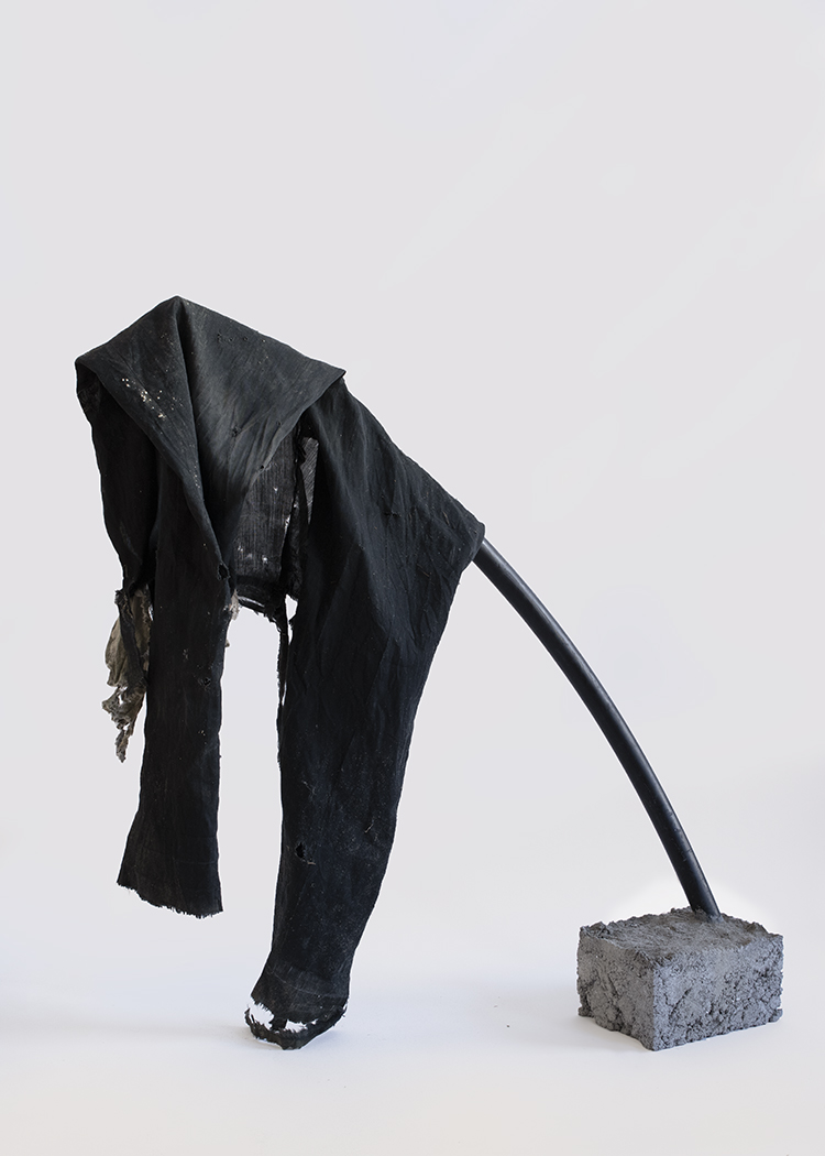 Object 5, 2018. Concrete, PVC pipe, pants. 27 x 9 x 11 inches, $550