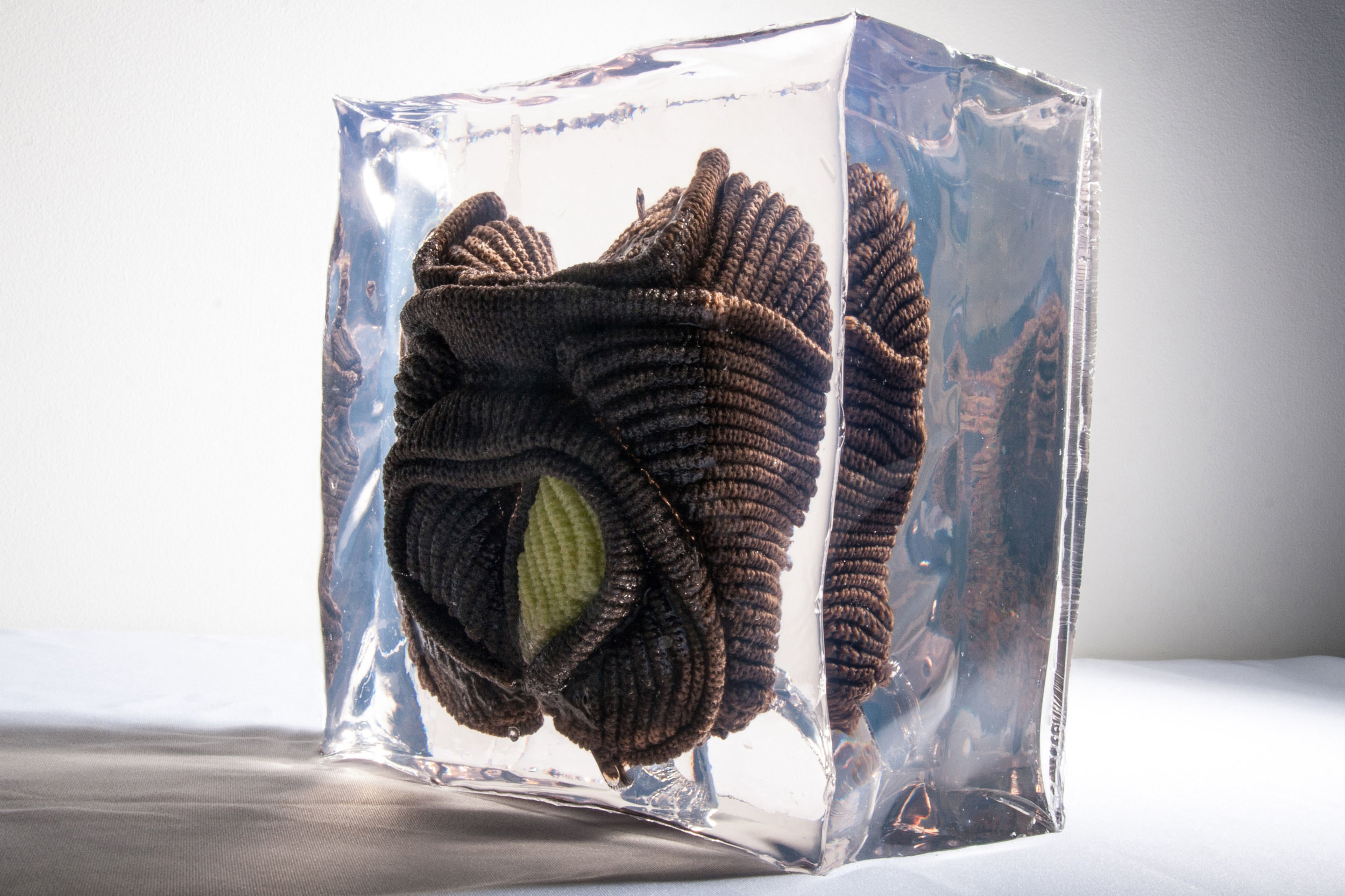 Heel Ache, 2017, Cotton knit and resin, 7.9 x 7.9 x 6.7 inches, $3500