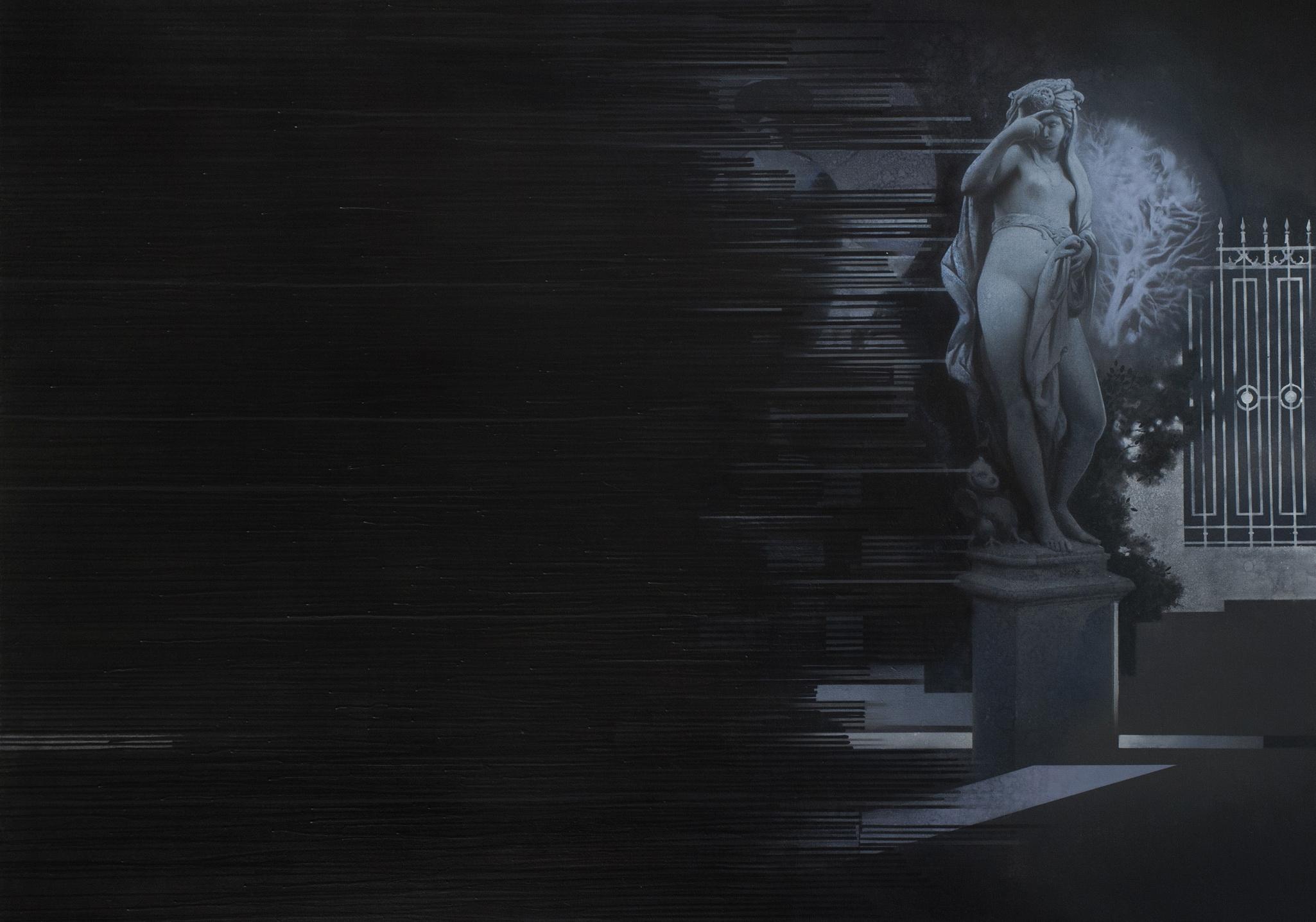T'ma. (Digital darkness), 2016-2018, Acrylic on canvas, 135 x 92 cm, $1500
