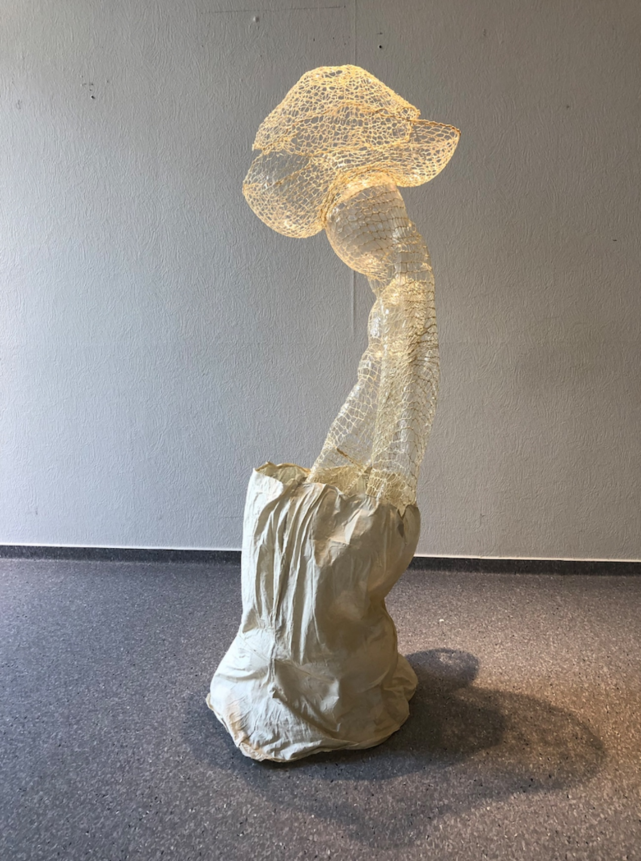 A Point of Balance, 2019, Yarn fabric and glue, approximately 51 x 15 x 15 inches, $400