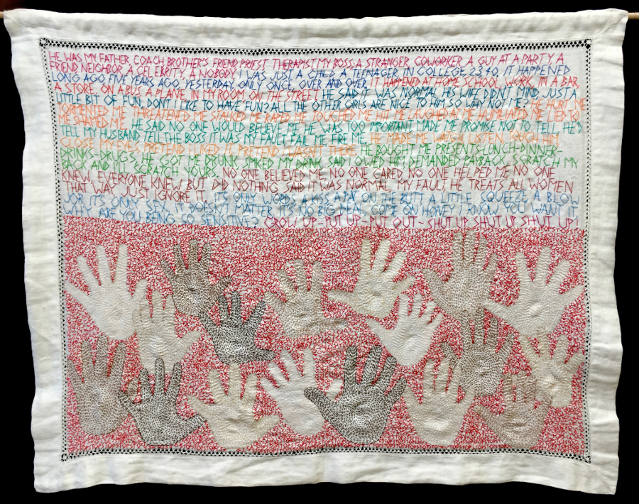 Hands Off, 2018. Hand embroidery on antique table linen, 29 x 22.5 inches. $500