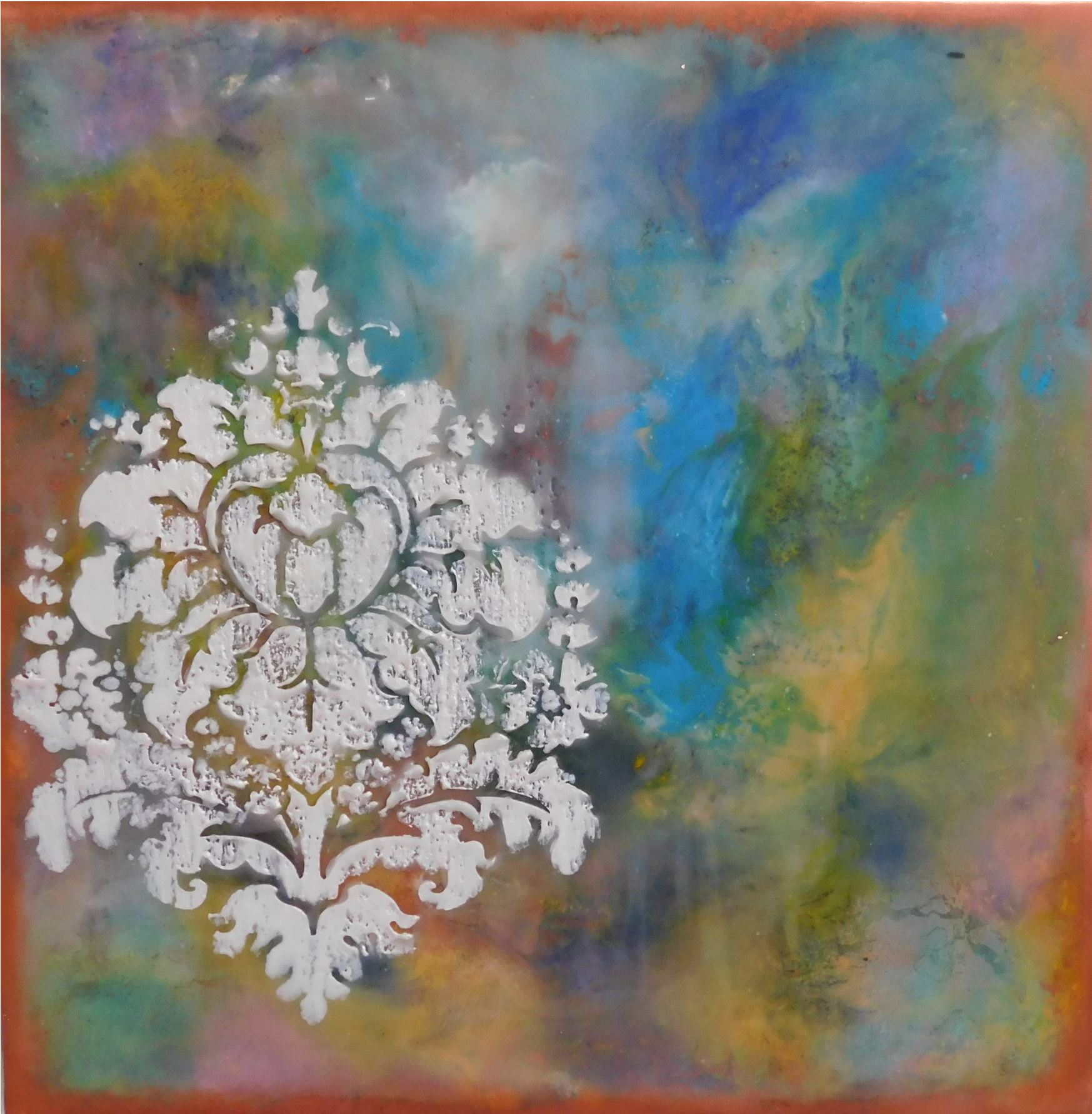 Tranquility, 2018, Encaustic, 12 x 12 x 1 inches, $300