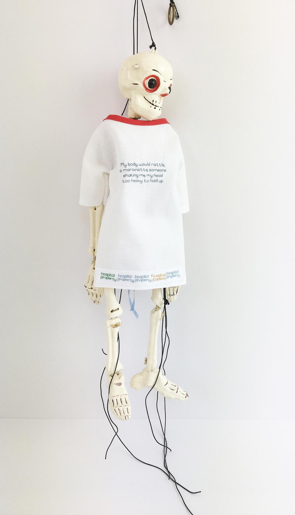 Do My Bones Look Big In This, 2018, puppet, cotton, silk threads, 36 cm x 12 cm. NFS