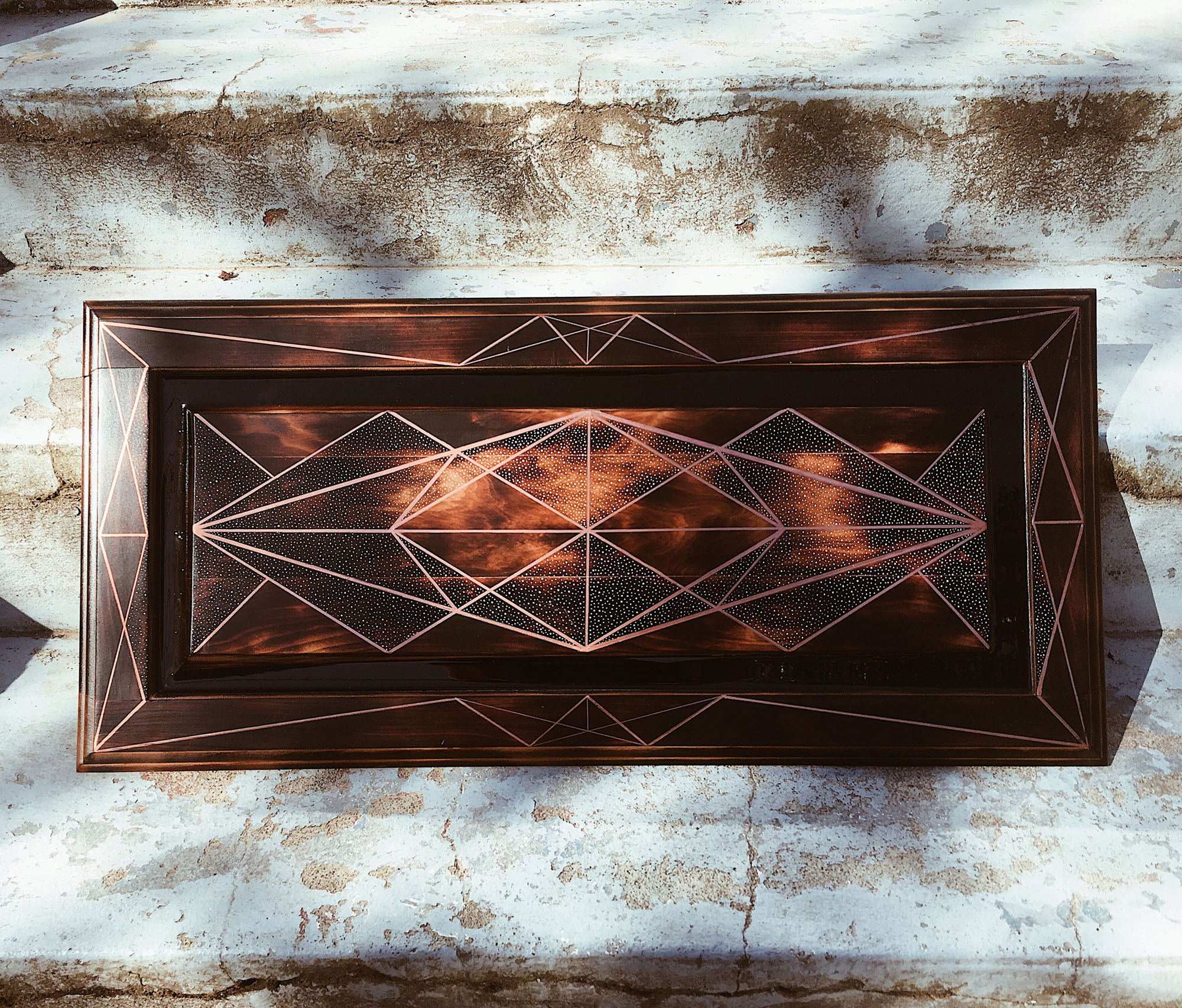 Universal Prerequisite, 2018, Acrylic and Pen on Burned Reclaimed Wood Panel, 13 x 28 inch, $400