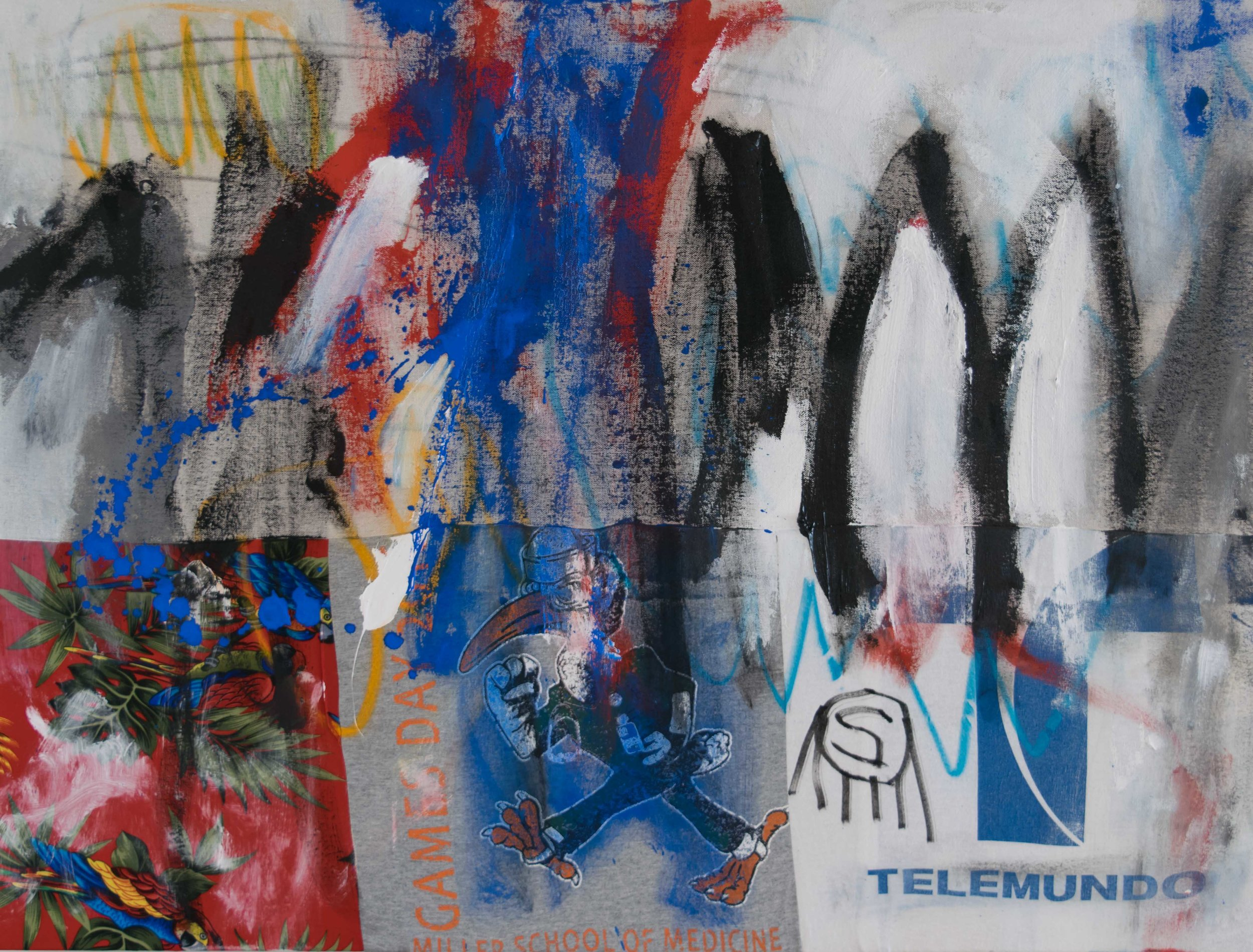 Game day live on Telemundo, 2019, Acrylic, Pastels and Pencil on Sewn fabric and textiles, 30 x 40 inches, $1,270