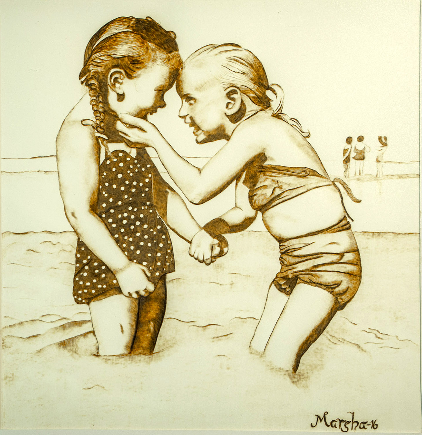 Friends Forever, 2016, Pyrography, 12 x 12, $300