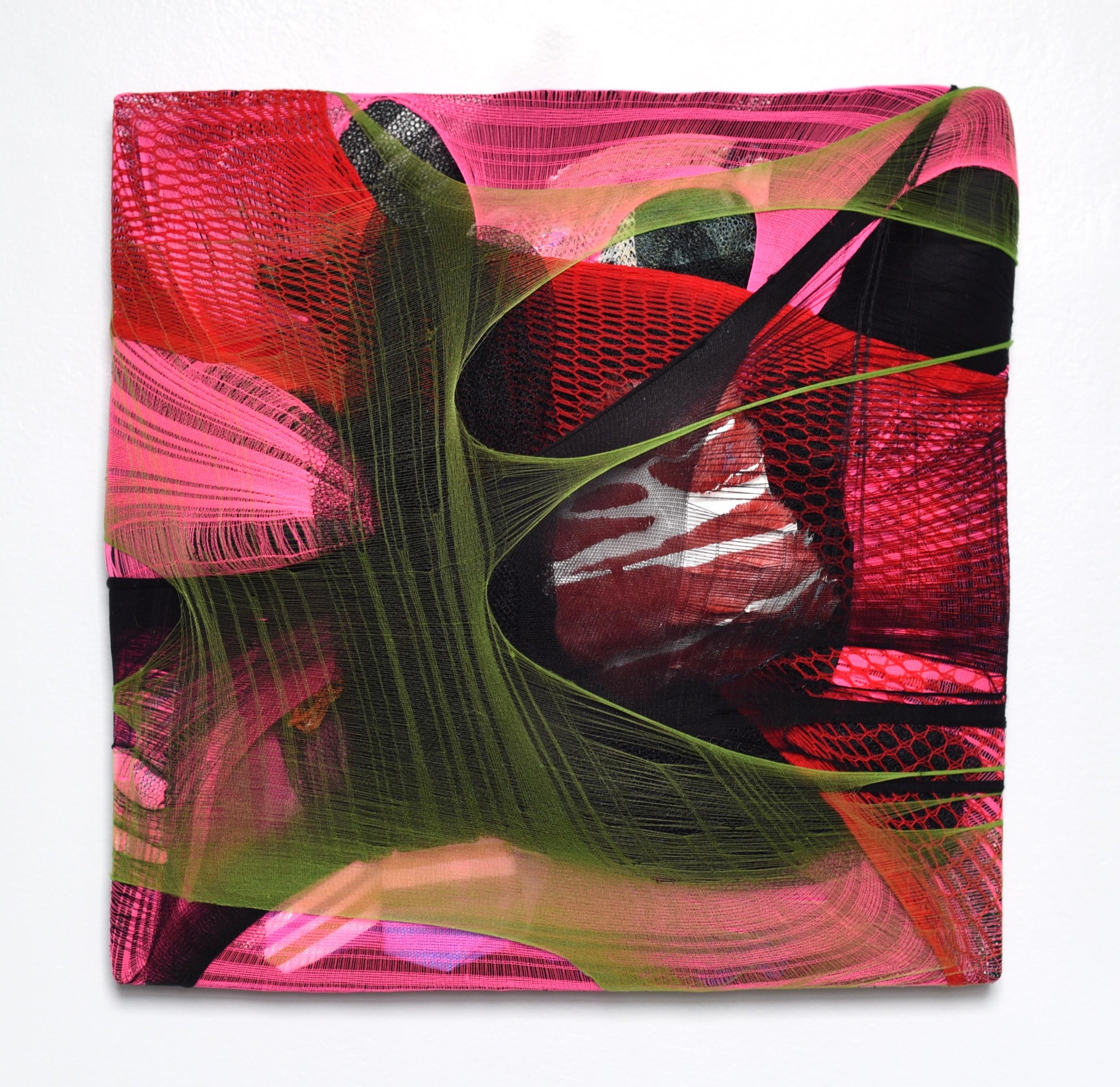 Wall Pillow 1, 2018, nylon, fabric scraps and acrylic paint on canvas, 12 x 12 x 2.5 in, 850$