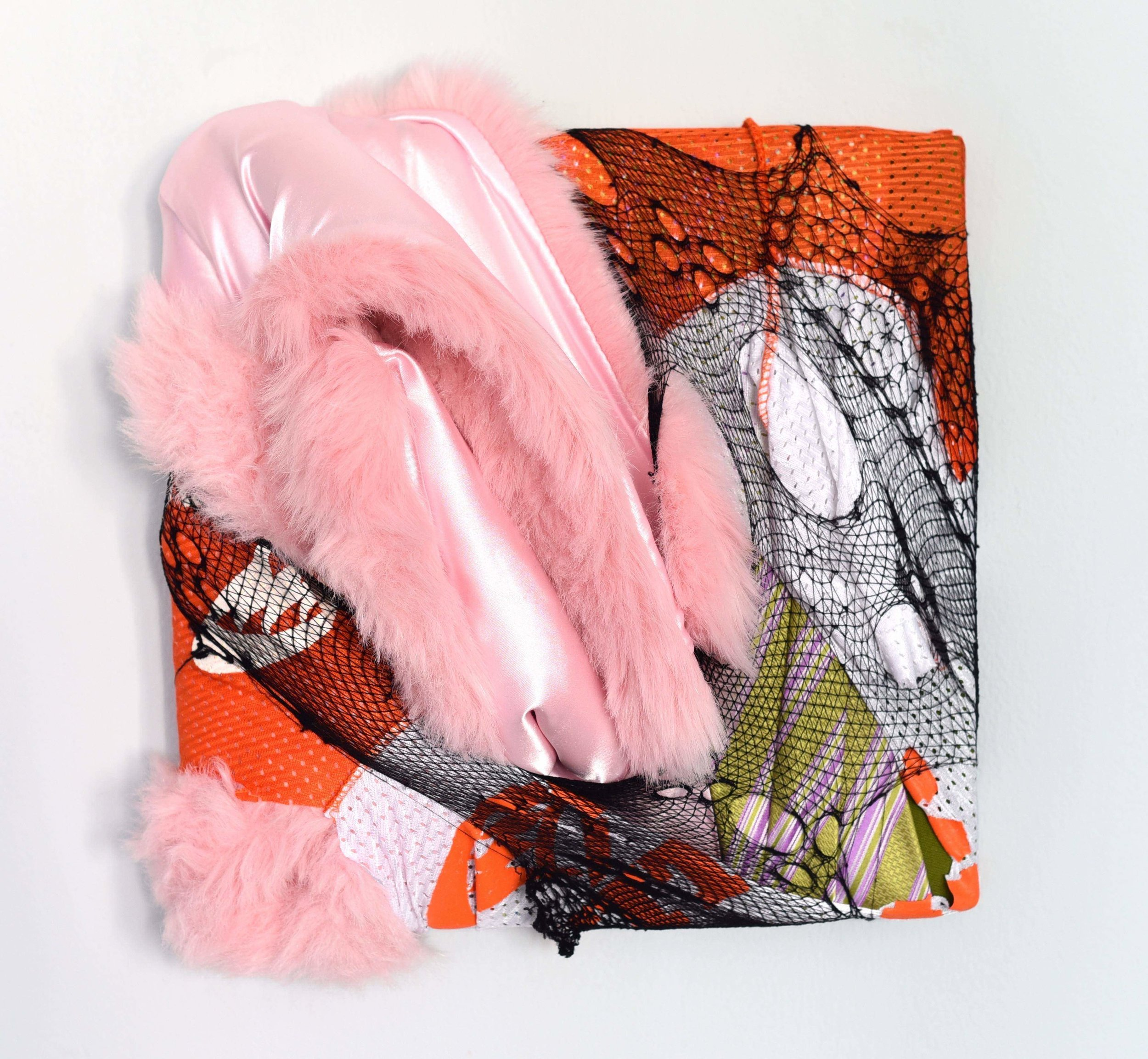 Peccadillo, 2019, faux fur, fabric scraps and nylon on stretcher bars, 13 x 12.5 x 6 in, 850$