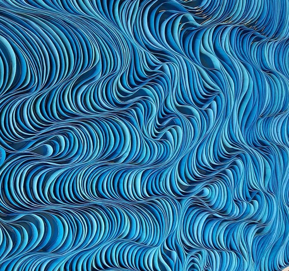 Broken Wave, 2019, Twill Quill, 72 x 48 inches, Sold