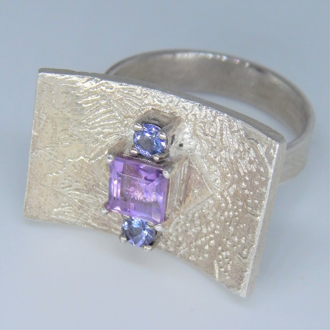 Arch, 2019, Fine Silver Metal Clay 925 Sterling Silver Amethyst and Tanzanite £165