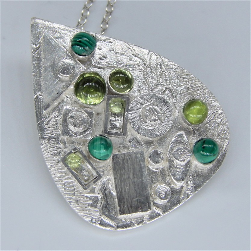 Barnes Green, 2019, Fine Silver Metal Clay 925 Sterling Silver Peridot and Malachite, £165
