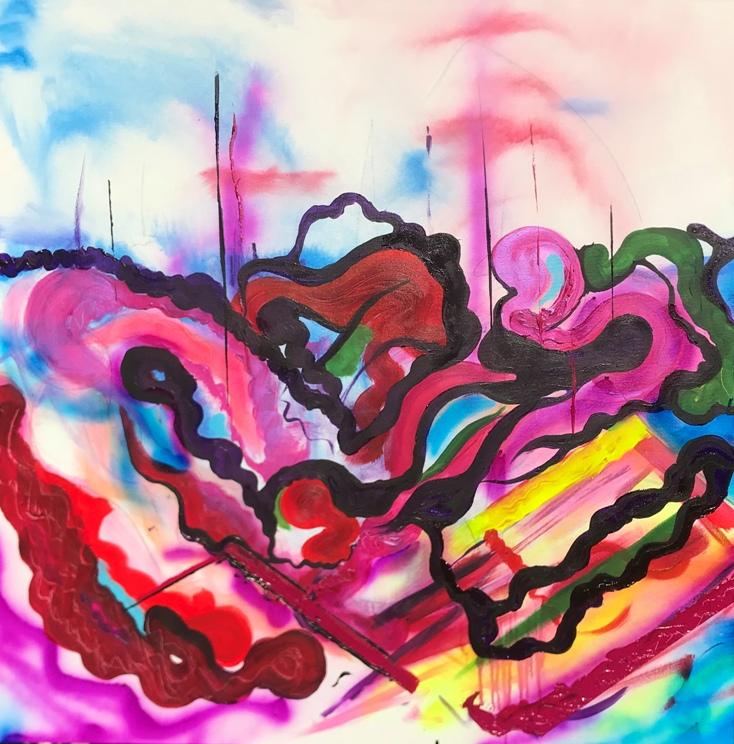 Commotion, 2018, Mixed media, 101 x 101 cm, £850