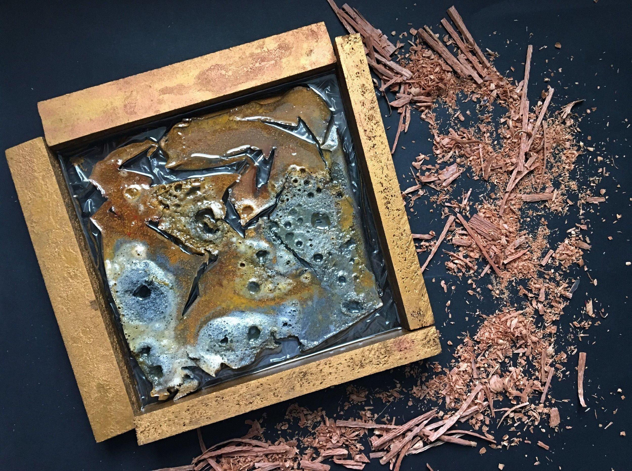 Fall. 2018. Wood + epoxy. 32 cm х 30 cm х 3.5 cm. $400