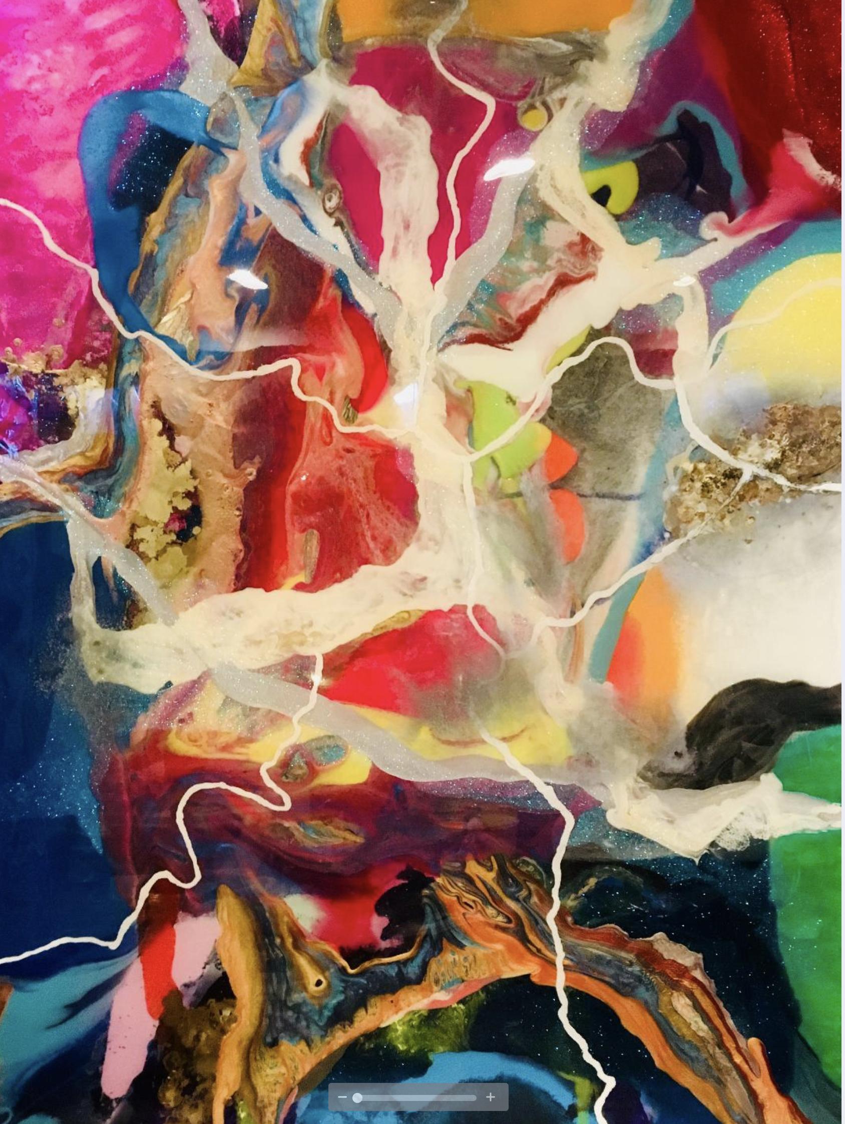 New World, 2018, mixed media on cradled birch, 36 x 36, $6,000