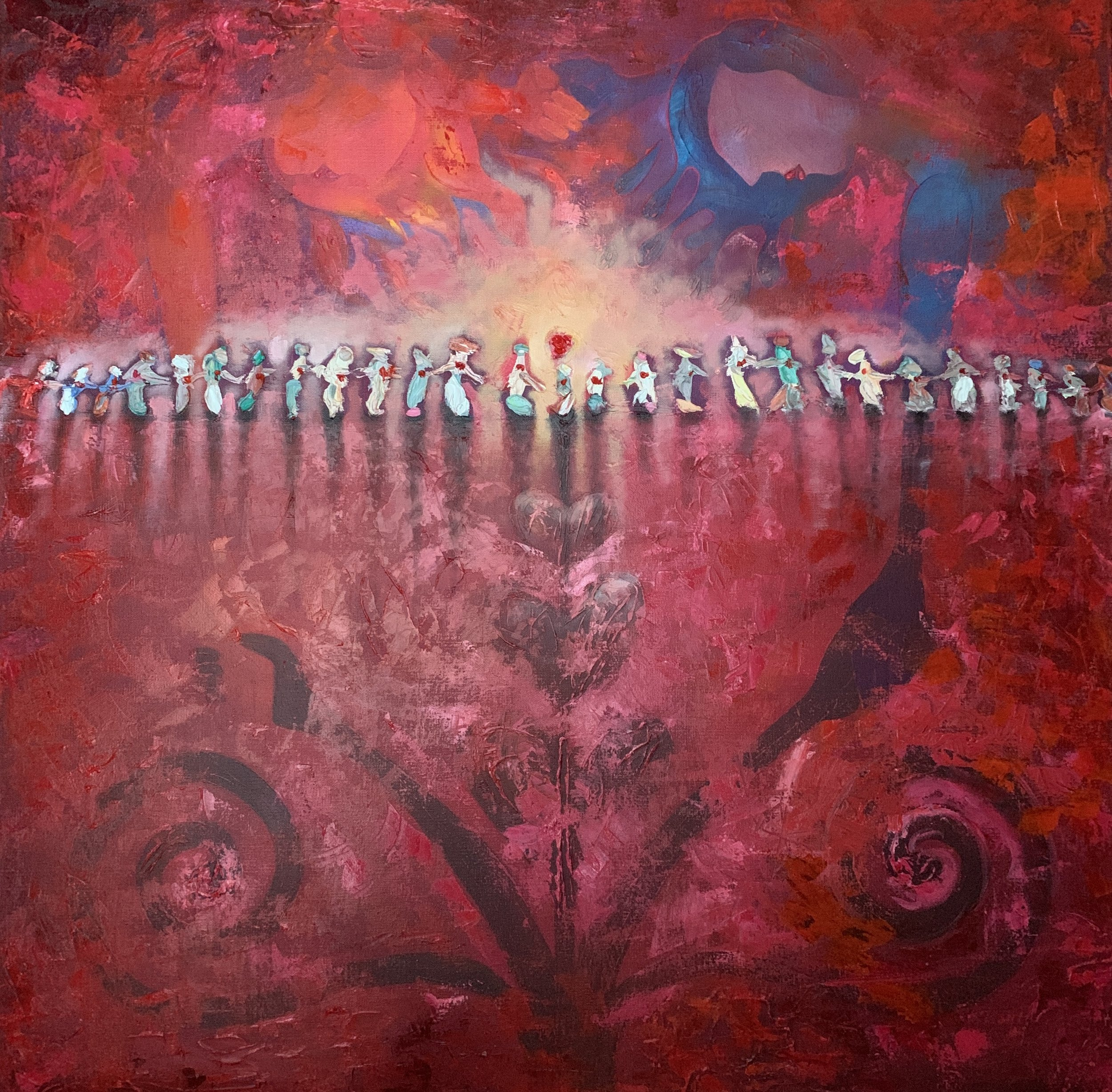 Guardian Angels of Love, 2019, Oil on Canvas, 36 x 36 inches, $1,950