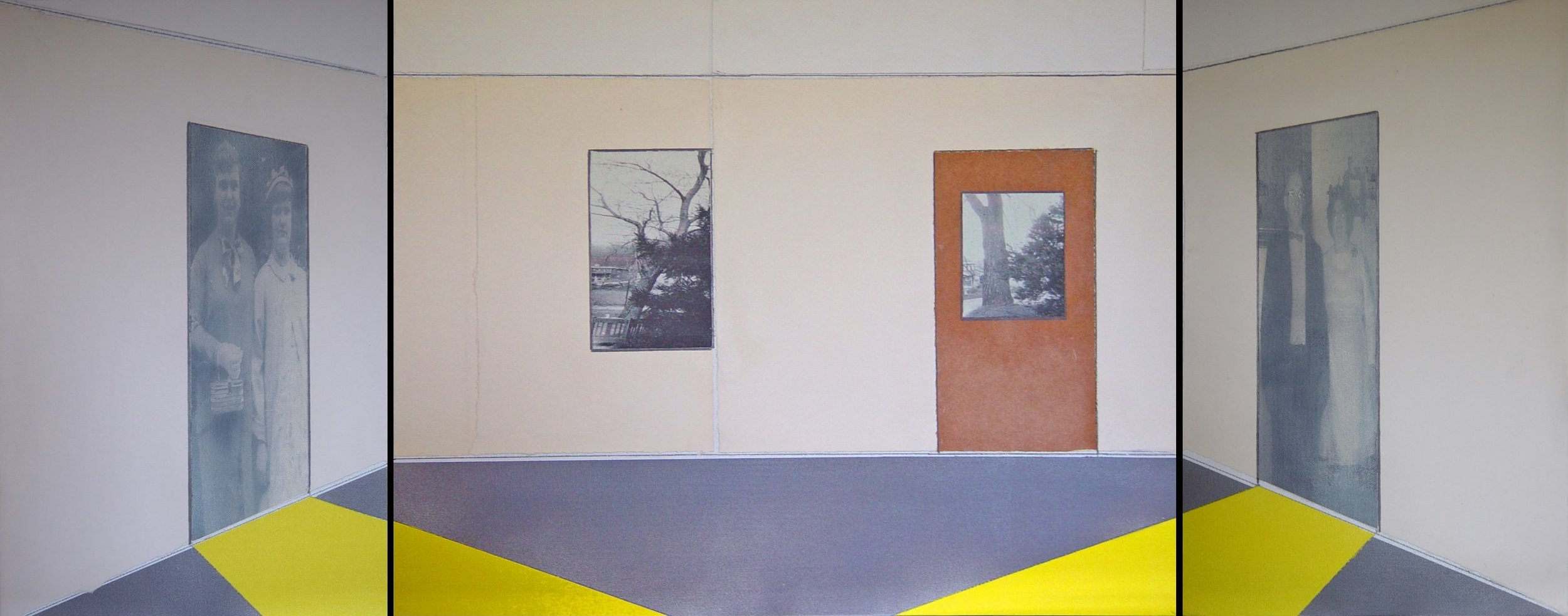 1601 Pine Hollow Road, Triptych #1, 2017, Mixed Media; aerosol, acrylic, paper, manipulated scanned photograph, graphite, 16 x 30 inches, $500