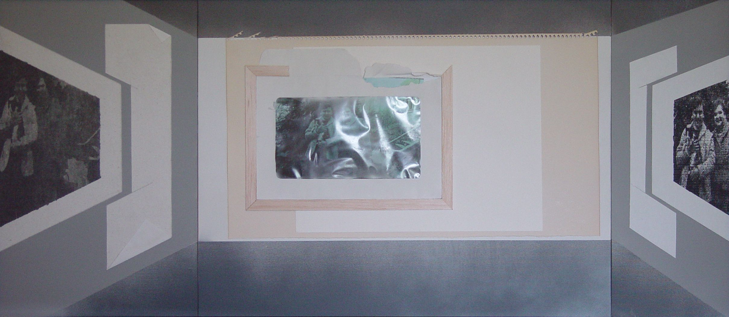 1601 Pine Hollow Road: Through a Glary, Blurry Window Triptych: My Mother, My Sister, and Shortie, 2018, Mixed Media: paper, wood, aerosol, window envelope, inkjet-printed scanned and manipulated images on paper and canvas. 16 x 40 inches, $600
