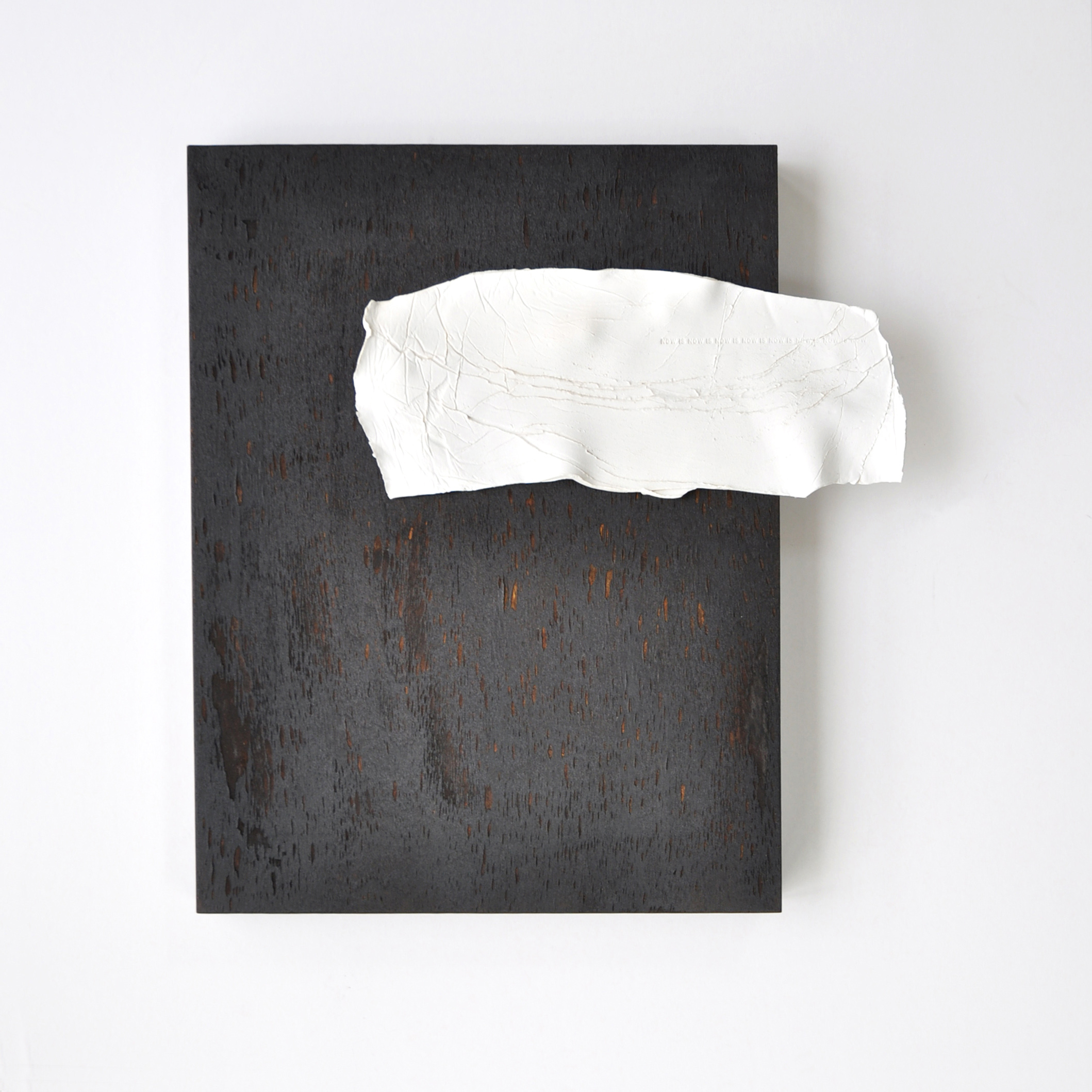 Fleeting, 2019, Stoneware, acrylic paint & charred wood panel, 14 x 14, $1,200