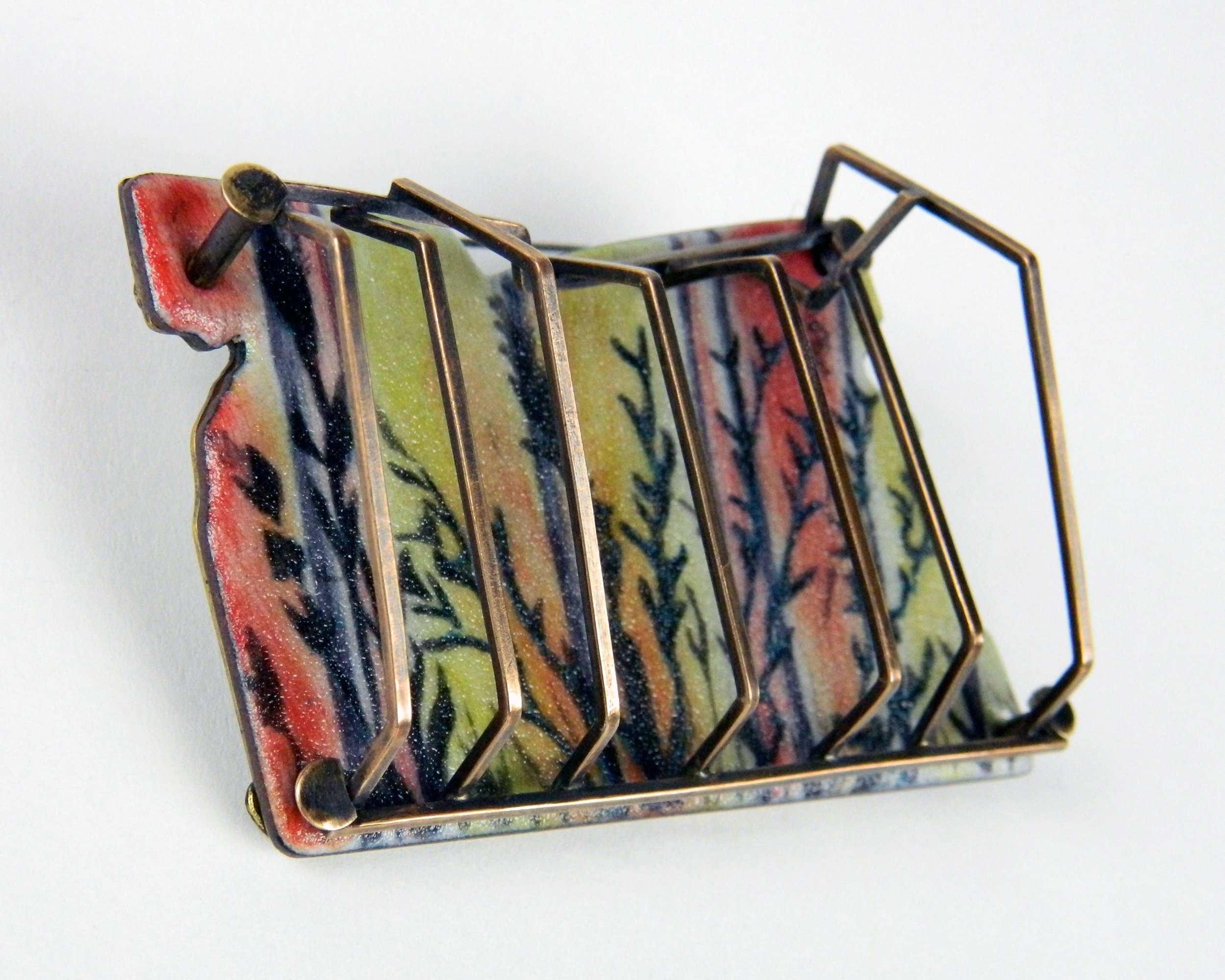 Grate Brooch, 2017, Copper, Bronze, Enamel and Under Glaze, 2 x 3.75 x 1 inches, $400