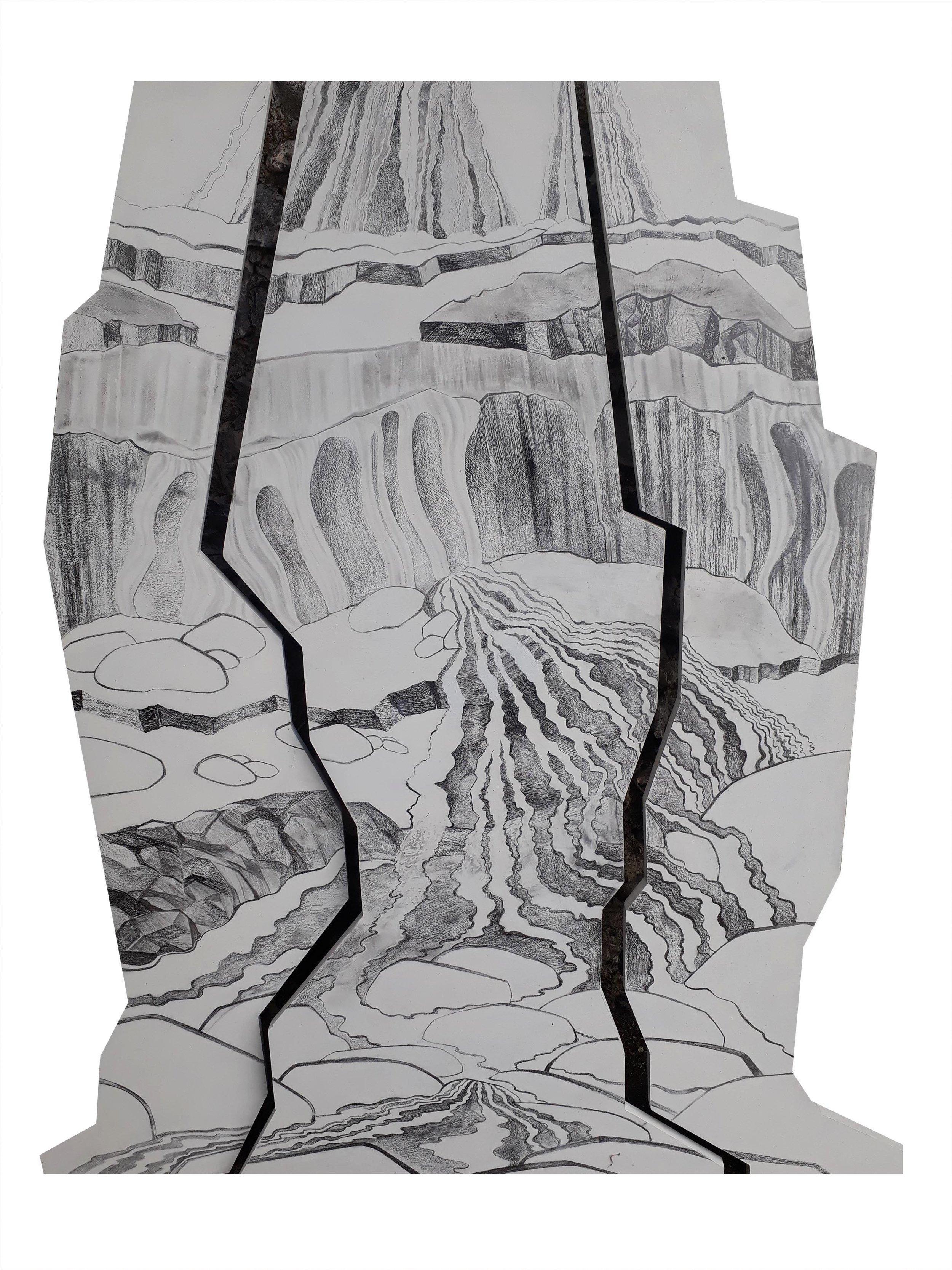 Falling Water Triptych, 2018, Graphite on MDF, 57 cm x 54 cm, 32 cm x 80 cm, $175 + postage