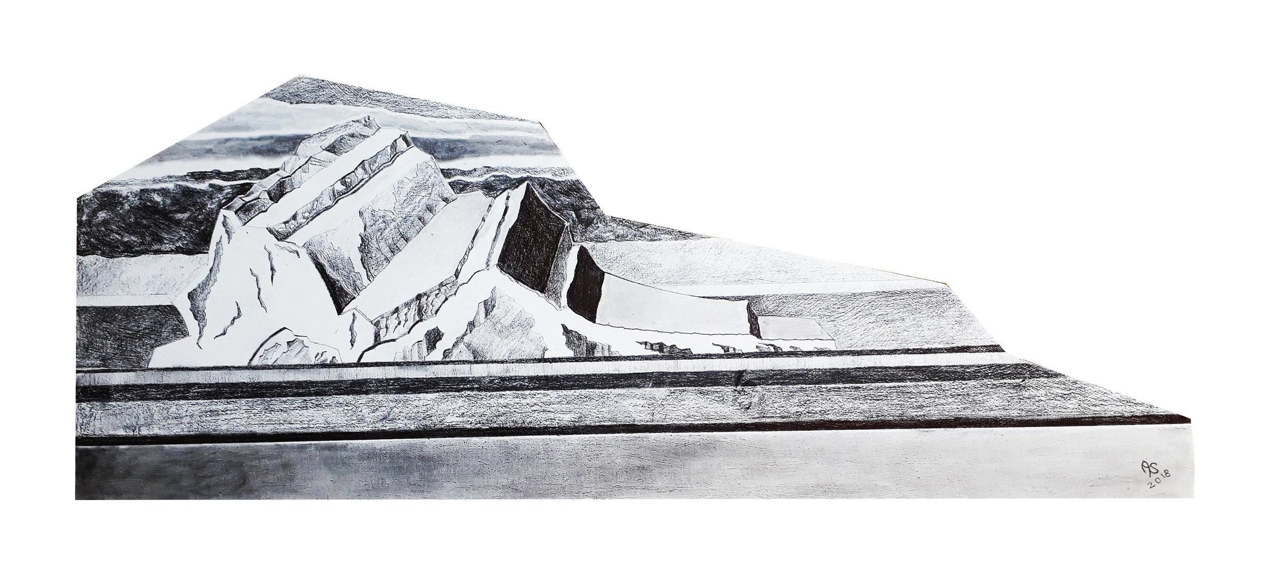 Ellesmere Island Iceberg, 2018, Graphite on MDF, 32 cm x 80 cm $125 + postage