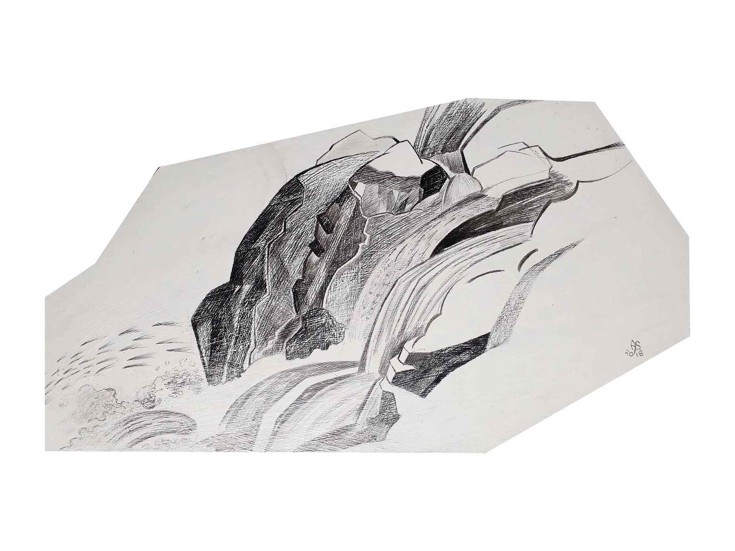 French Waterfall, 2018, Graphite on MDF, 30.5 cm x 50 cm, $125 + postage