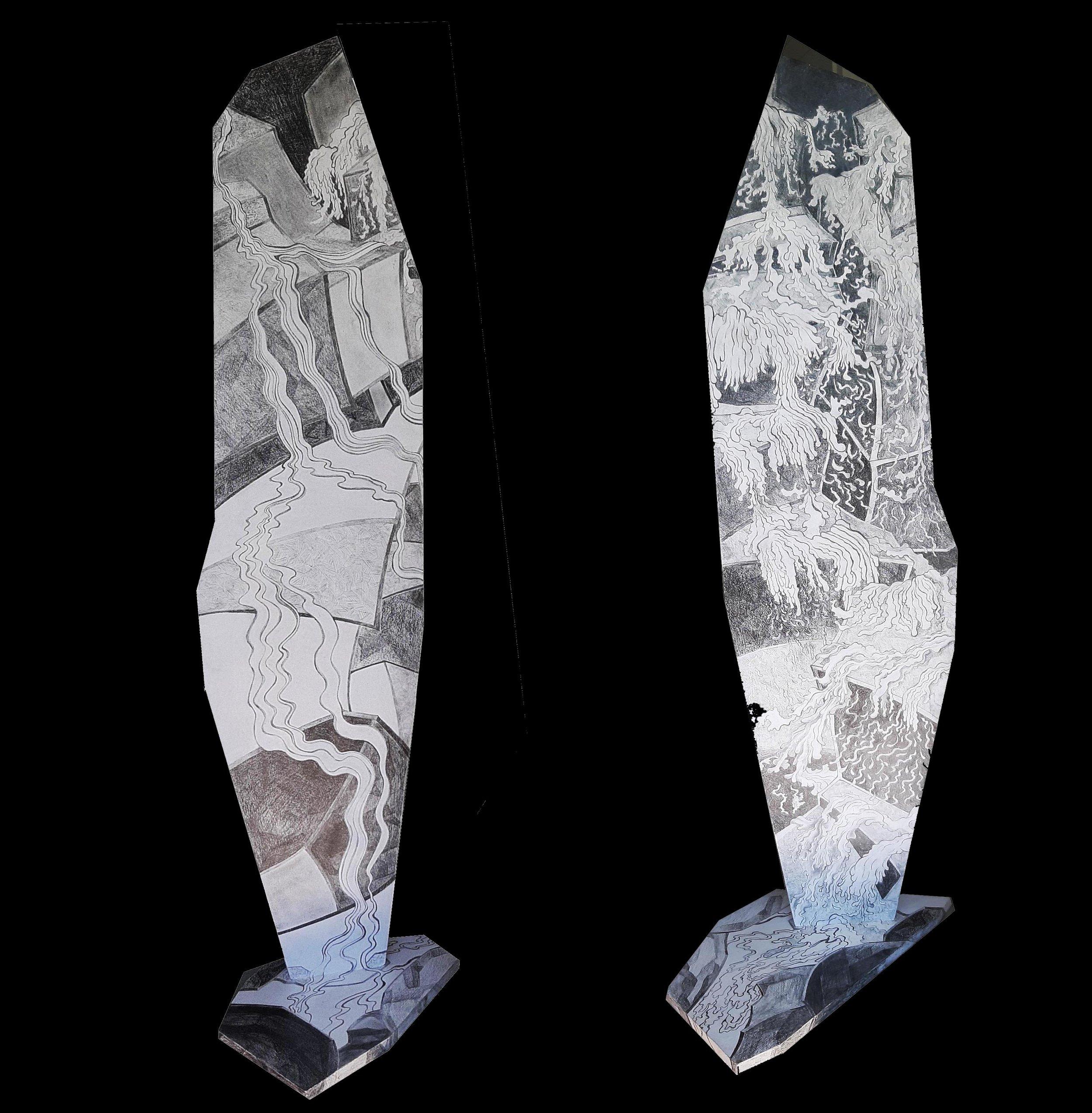 Gimel Les Cascades IV, 2018,Graphite on MDF, 123 cm x 56 cm x 23.5 cm