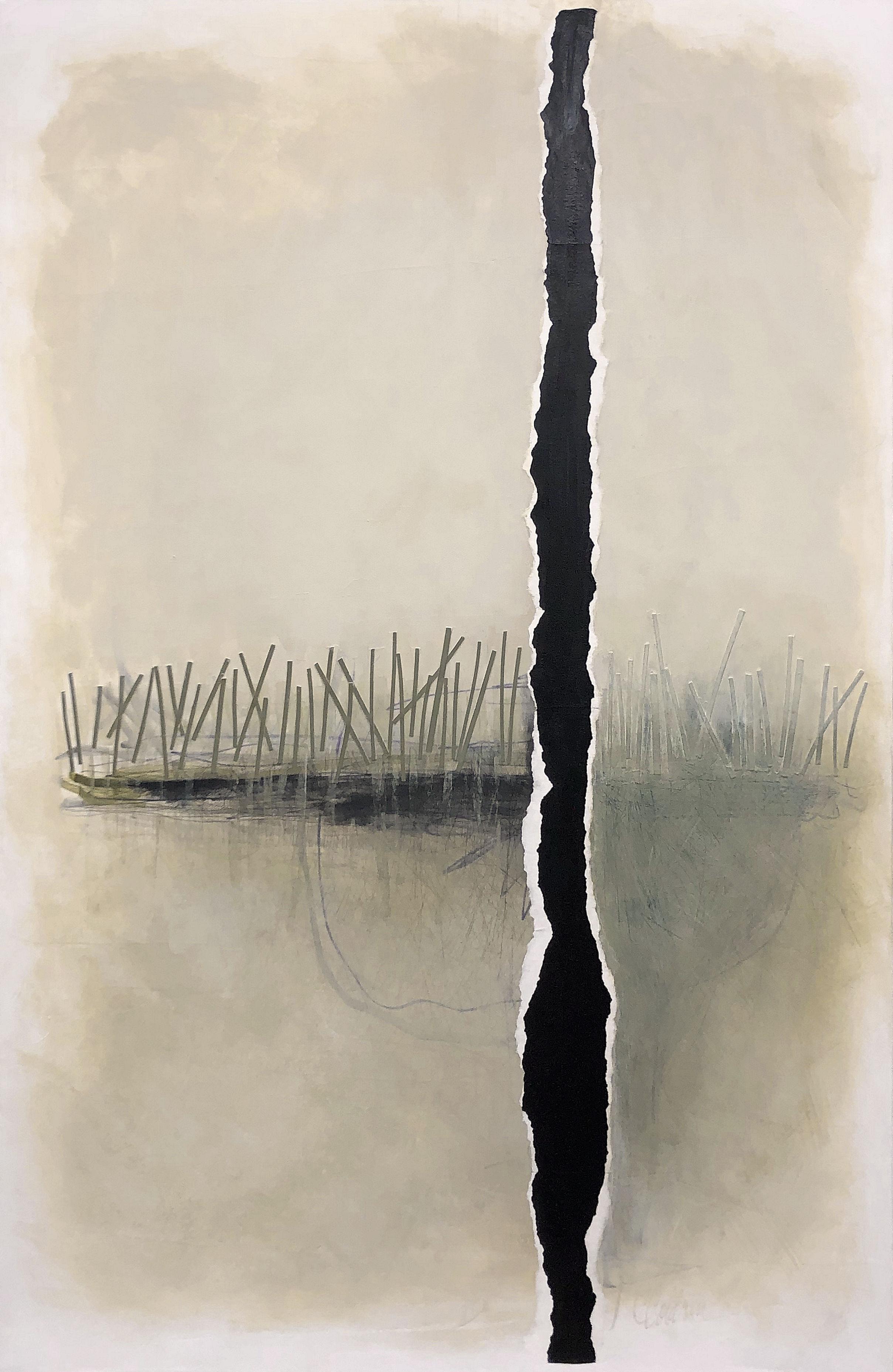 Estuary Fog, 2019, acrylic, 36 x 24 x 1.5 inches, $800