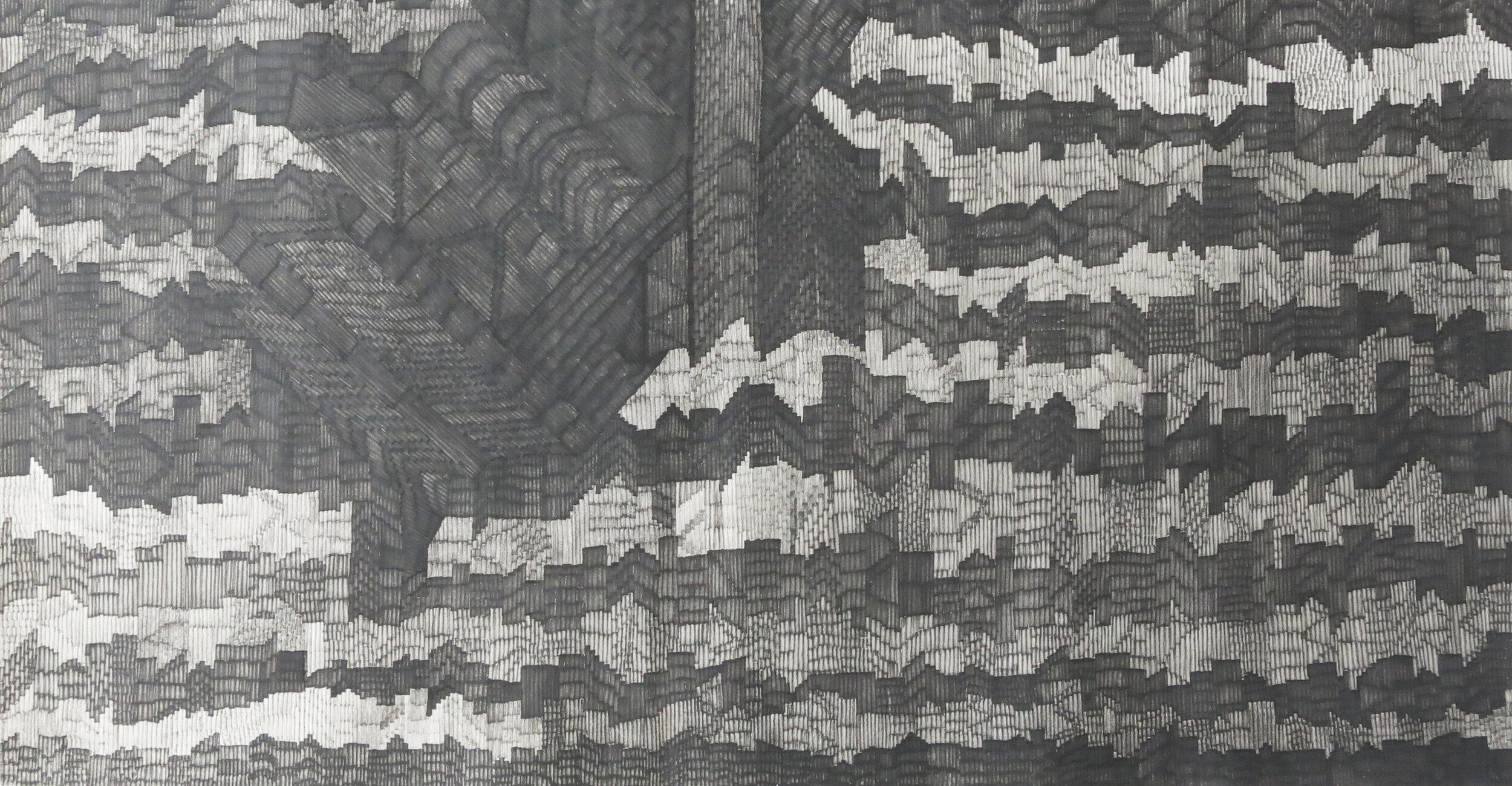Flight 2, 2016, marker pen on rice paper, 67 cm x 137 cm, 4800