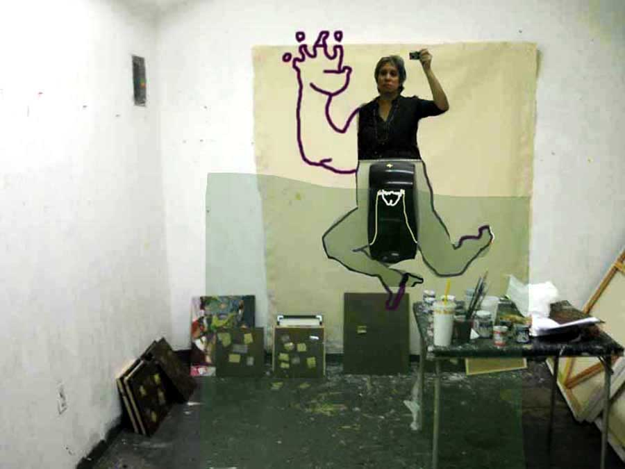 In-studio Self-portrait, 2010, Inkjet print of original photo of me and drawing - all in Photoshop, 11 x 14 inches, $275