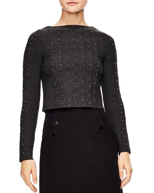 Trône Embellished Cropped Sweater , Sandro. $295